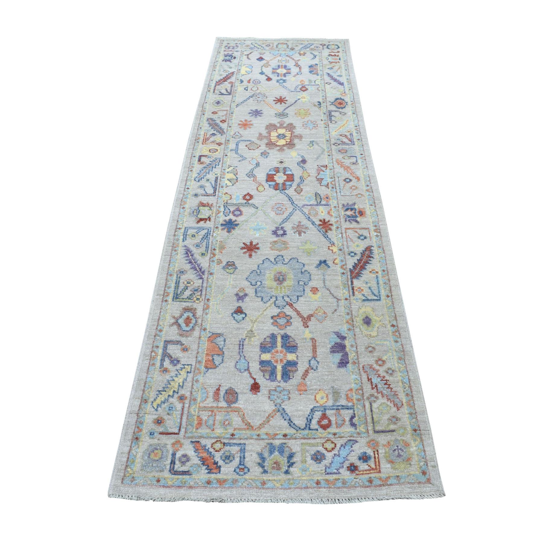 """2'9""""X9'10"""" Ivory Soft Velvety Wool Angora Oushak Hand Knotted Runner Oriental Rug moaedea9"""