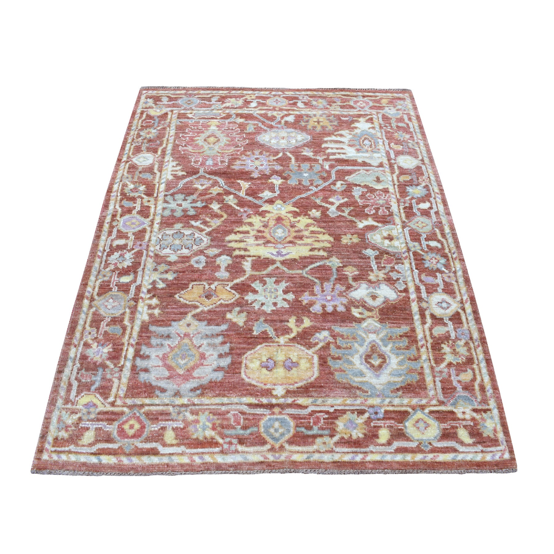 """4'1""""X6' Red Soft Velvety Wool Angora Oushak Hand Knotted Oriental Rug moaedeb6"""