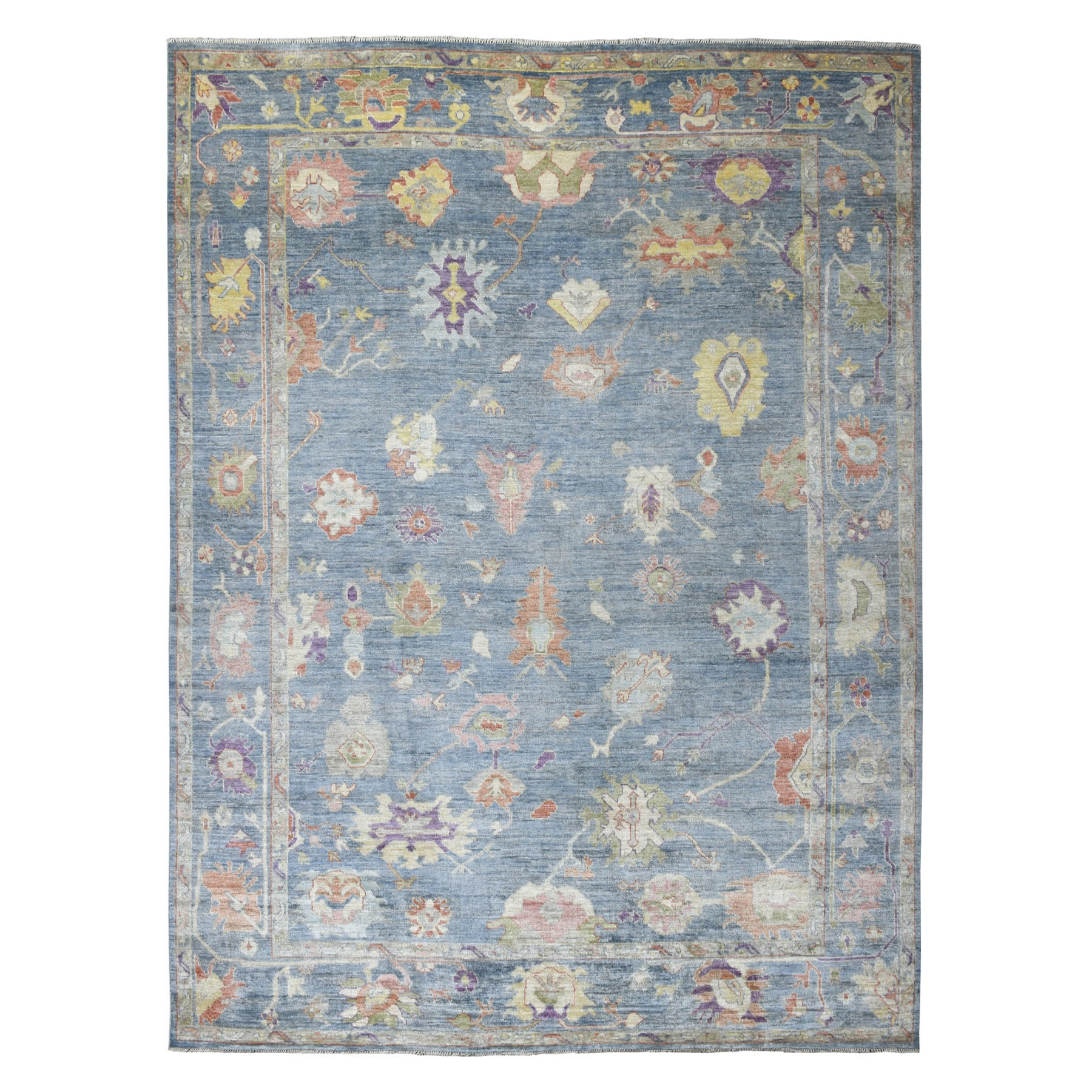 """9'1""""X12' Blue Angora Oushak With Soft Velvety Wool Hand Knotted Oriental Rug moaedecc"""