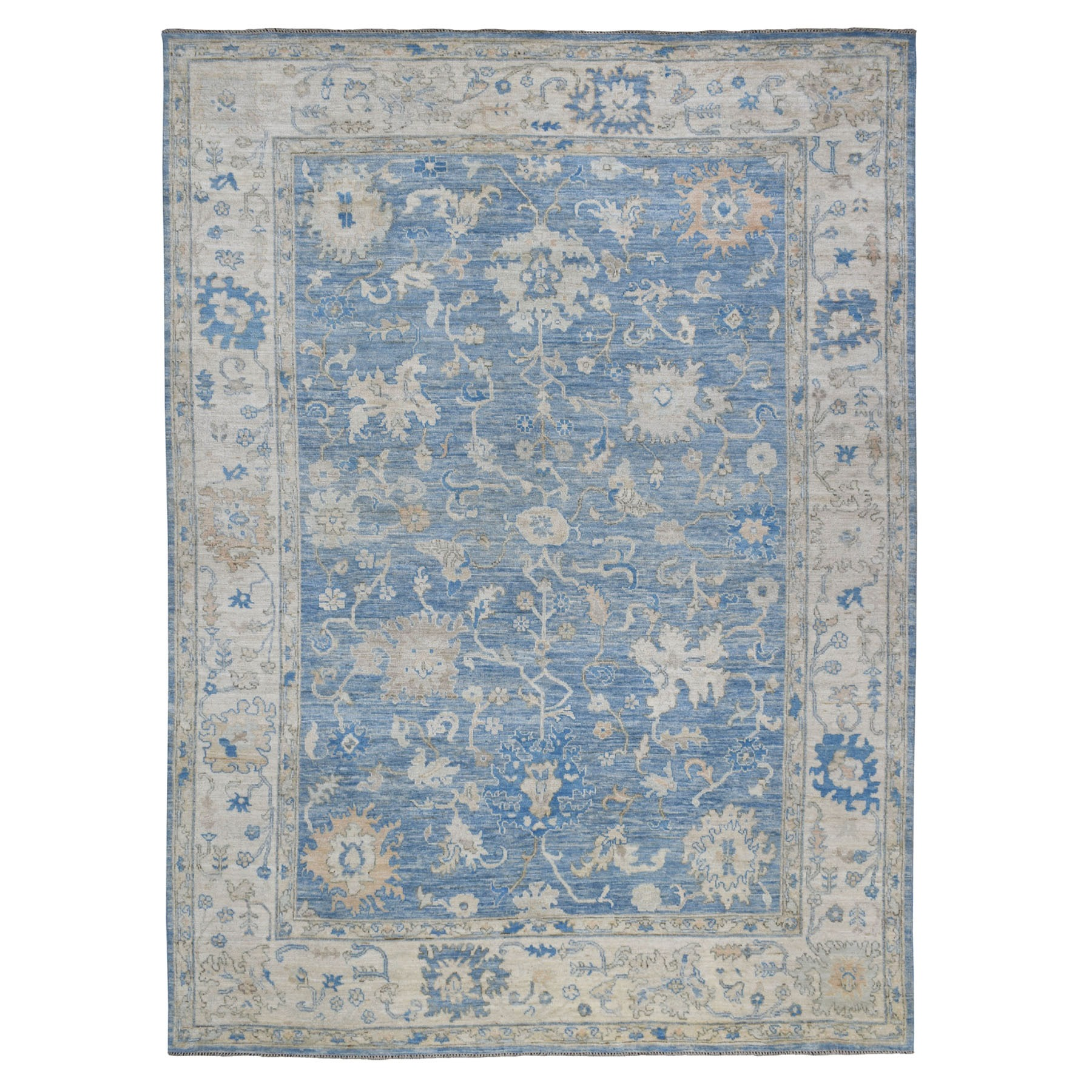 """9'X12'4"""" Blue Angora Oushak With Soft Velvety Wool Hand Knotted Oriental Rug moaedec7"""