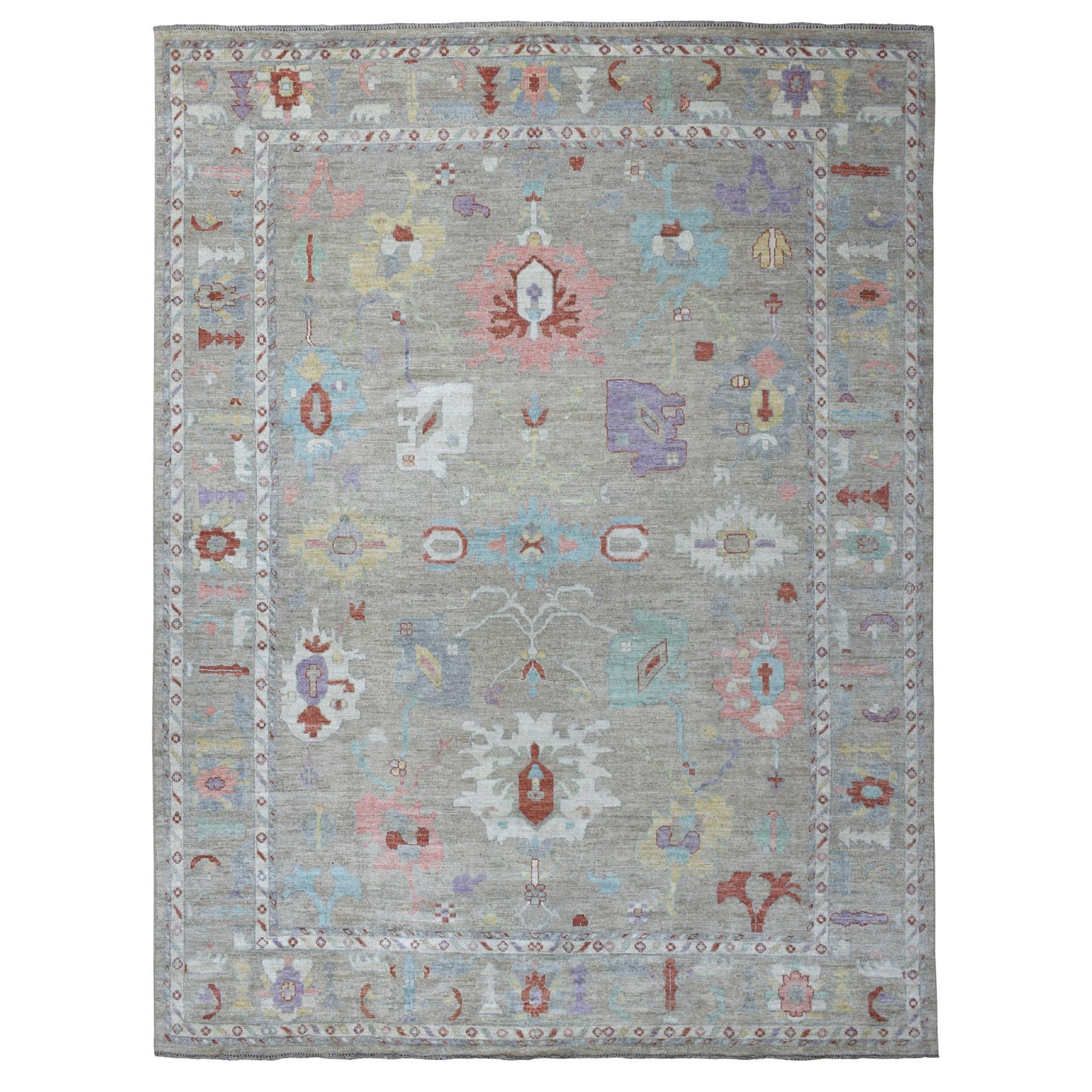 "9'2""X11'10"" Light Taupe Soft Velvety Wool Angora Oushak Hand Knotted Oriental Rug moaedec8"