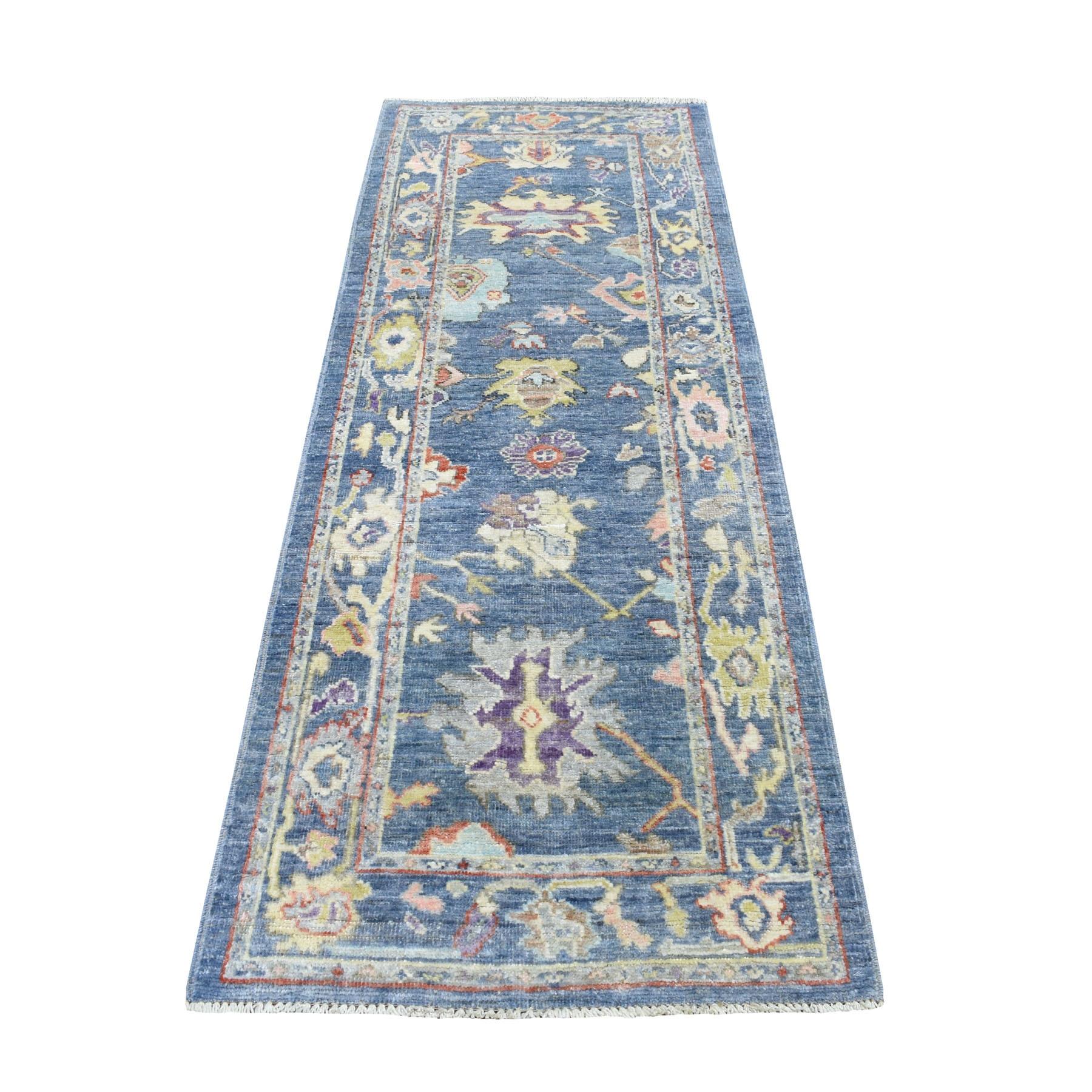 """2'9""""X7'7"""" Blue Soft Velvety Wool Angora Oushak Hand Knotted Runner Oriental Rug moaedeec"""