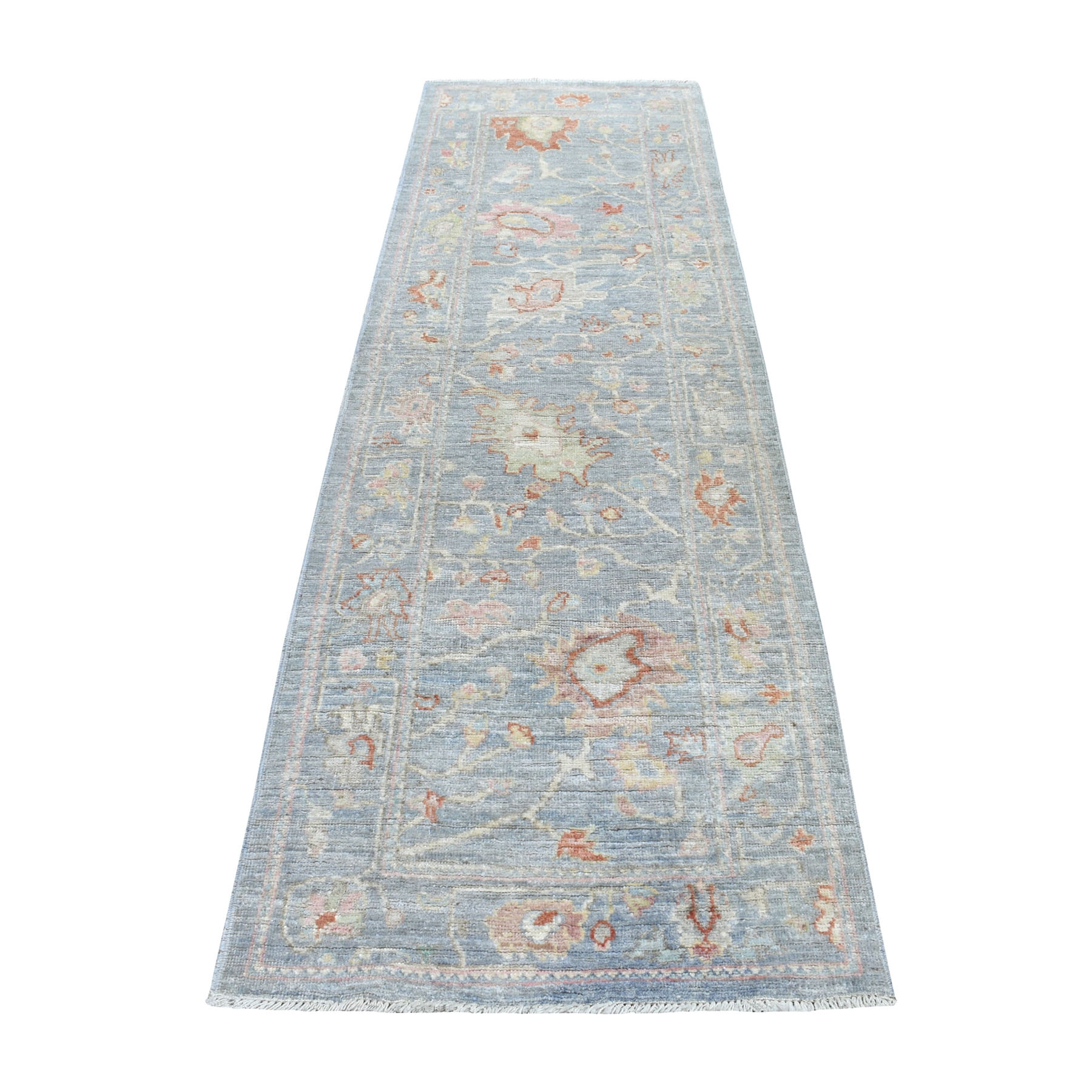 """2'10""""X9'5"""" Mirage Gray Angora Oushak With Soft Velvety Wool Hand Knotted Runner Oriental Rug moaedeee"""