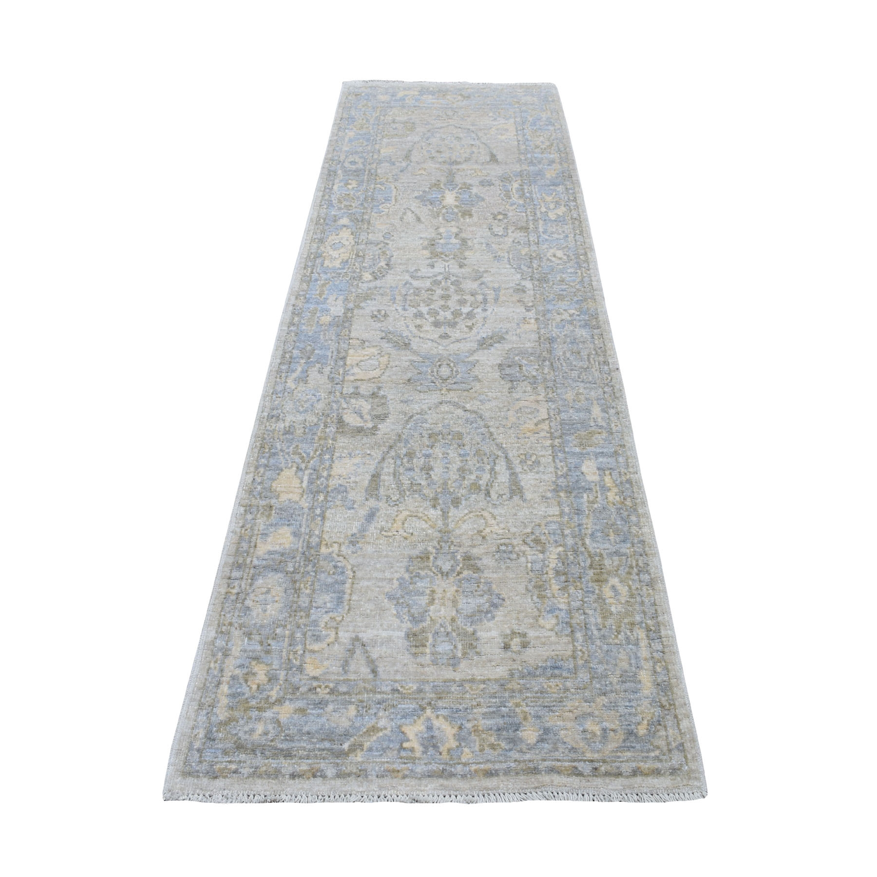 """2'8""""X8'6"""" Ivory Angora Oushak With Soft Velvety Wool Hand Knotted Runner Oriental Rug moaedee7"""
