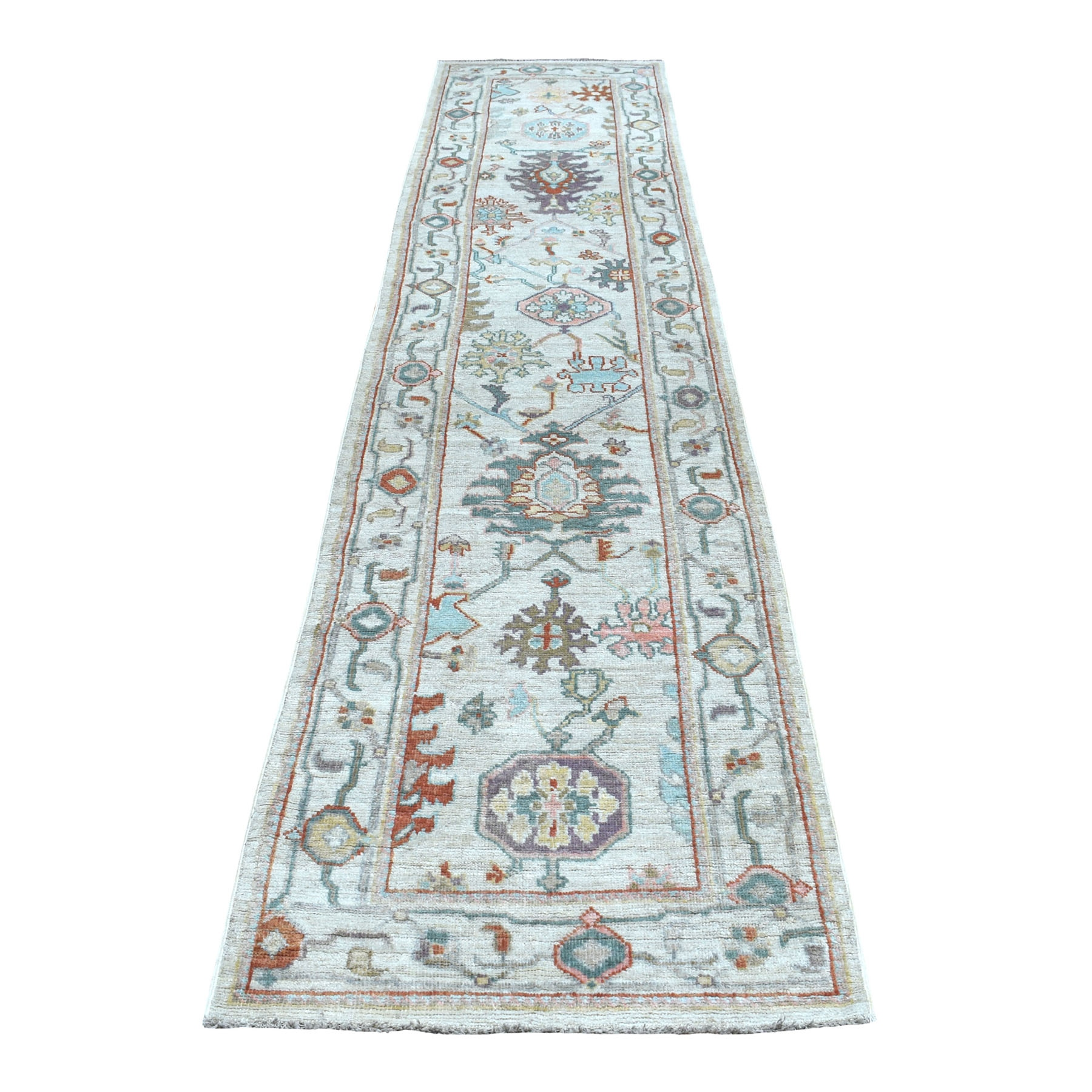 """2'7""""X12'3"""" Ivory Angora Oushak With Soft Velvety Wool Hand Knotted Runner Oriental Rug moaede6a"""