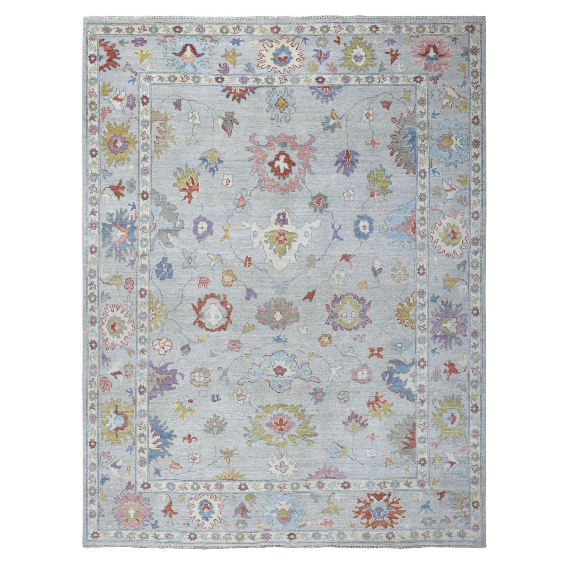 "9'3""x12' Gray Soft Velvety Wool Angora Oushak Hand Knotted Oriental Rug 54567"