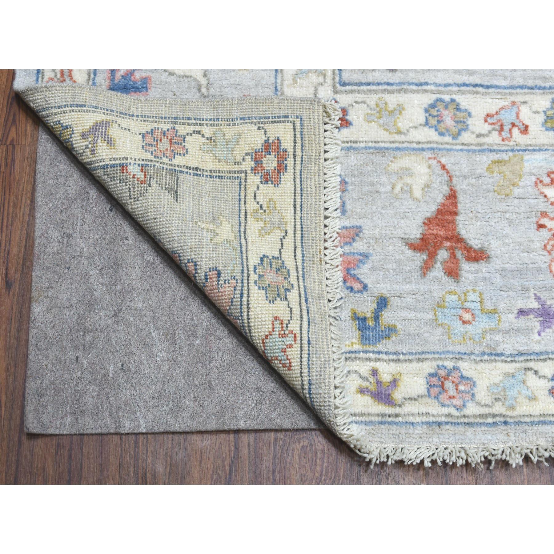 "9'3""x12' Gray Soft Velvety Wool Angora Oushak Hand Knotted Oriental Rug"