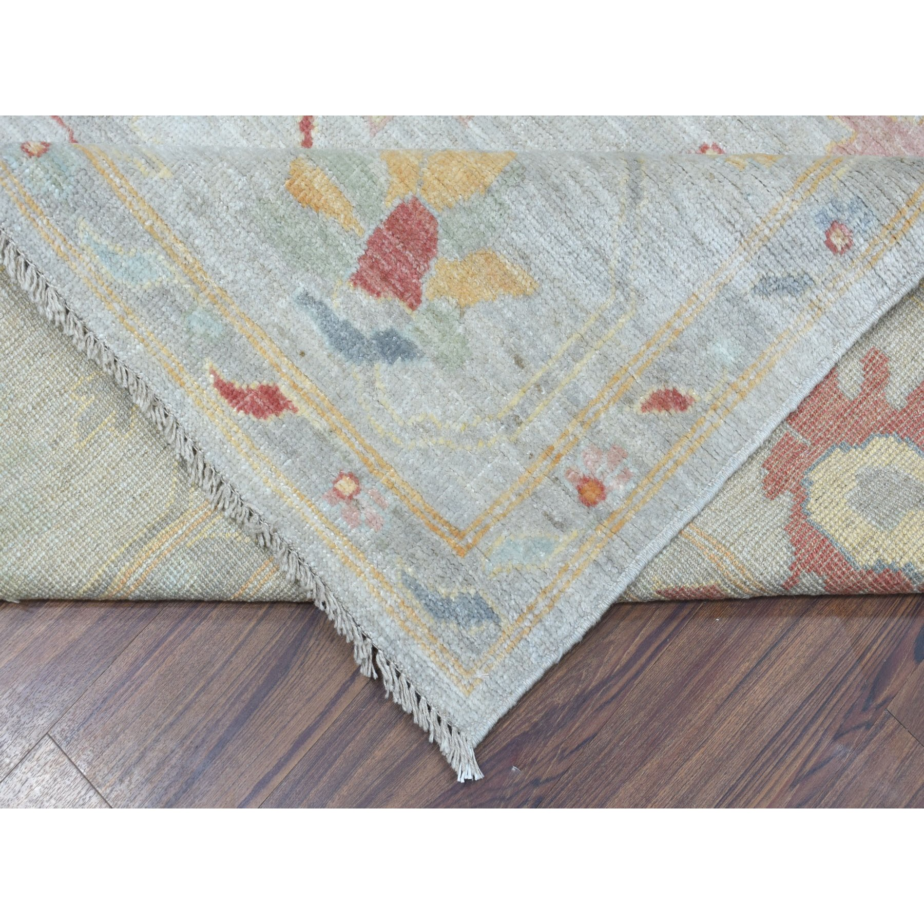 "9'1""x11'5"" Gray Angora Oushak with Soft Wool Hand Knotted Oriental Rug"