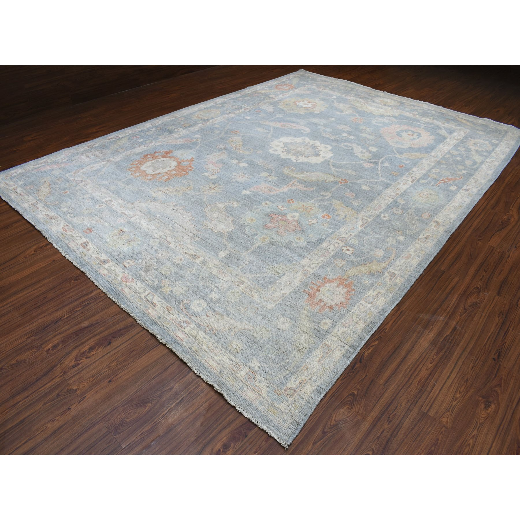 """10'x13'9"""" Blue Angora Oushak With Soft Wool Hand Knotted Oriental Rug"""