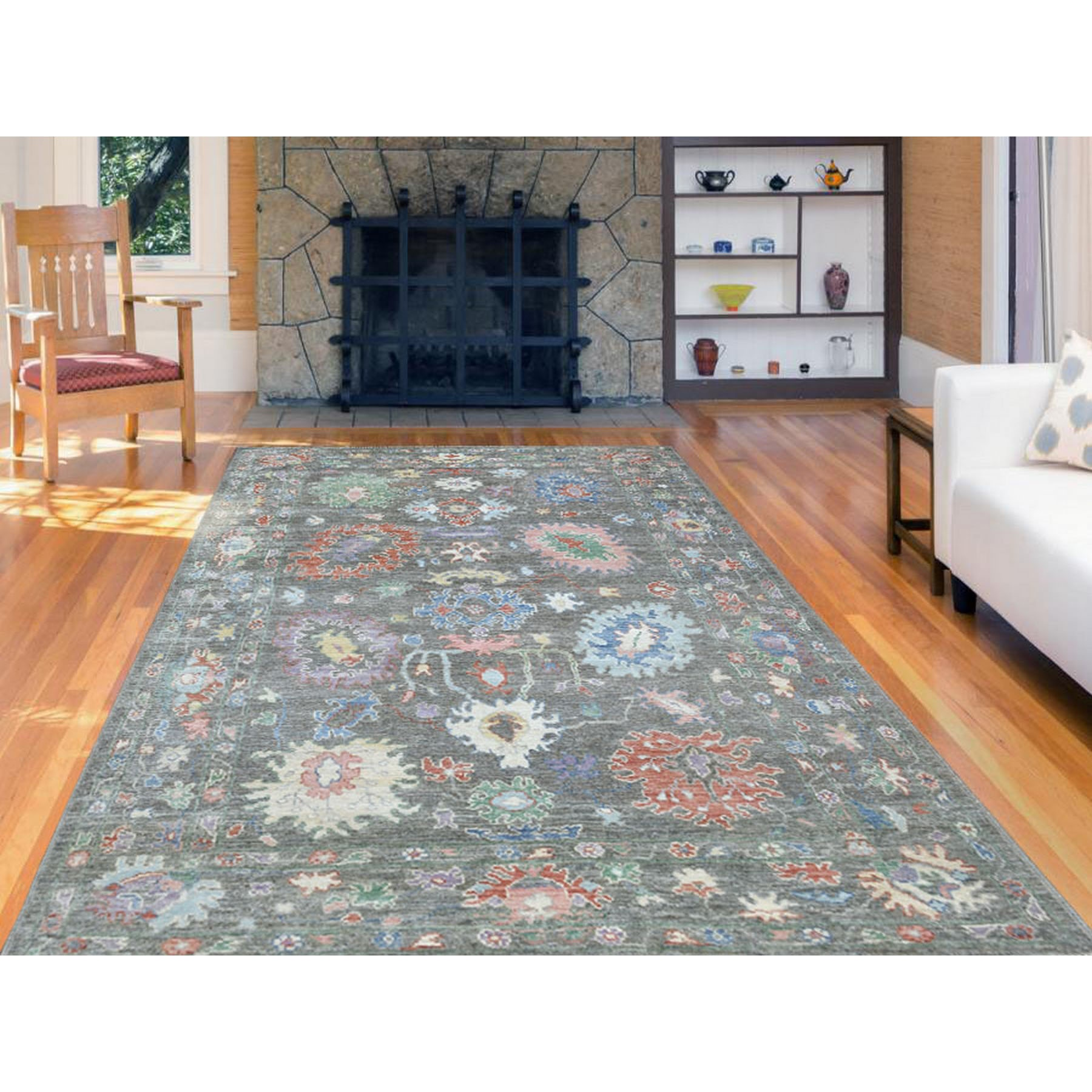 """5'10""""x8'10"""" Taupe Gray Angora Oushak with Soft Velvety Wool Hand Knotted Oriental Rug"""