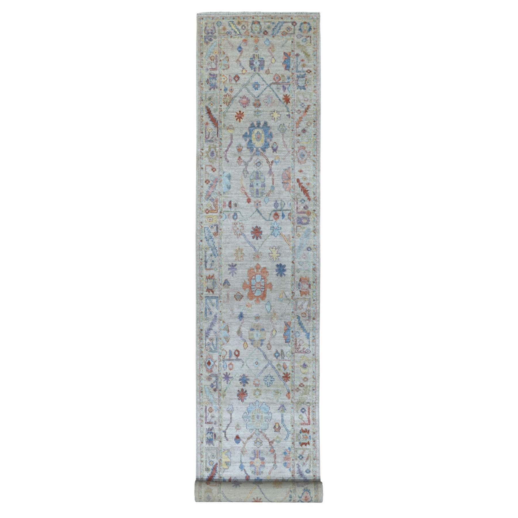 3'X19' Ivory Angora Oushak With Soft Velvety Wool Hand Knotted Xl Runner Oriental Rug moaede7c