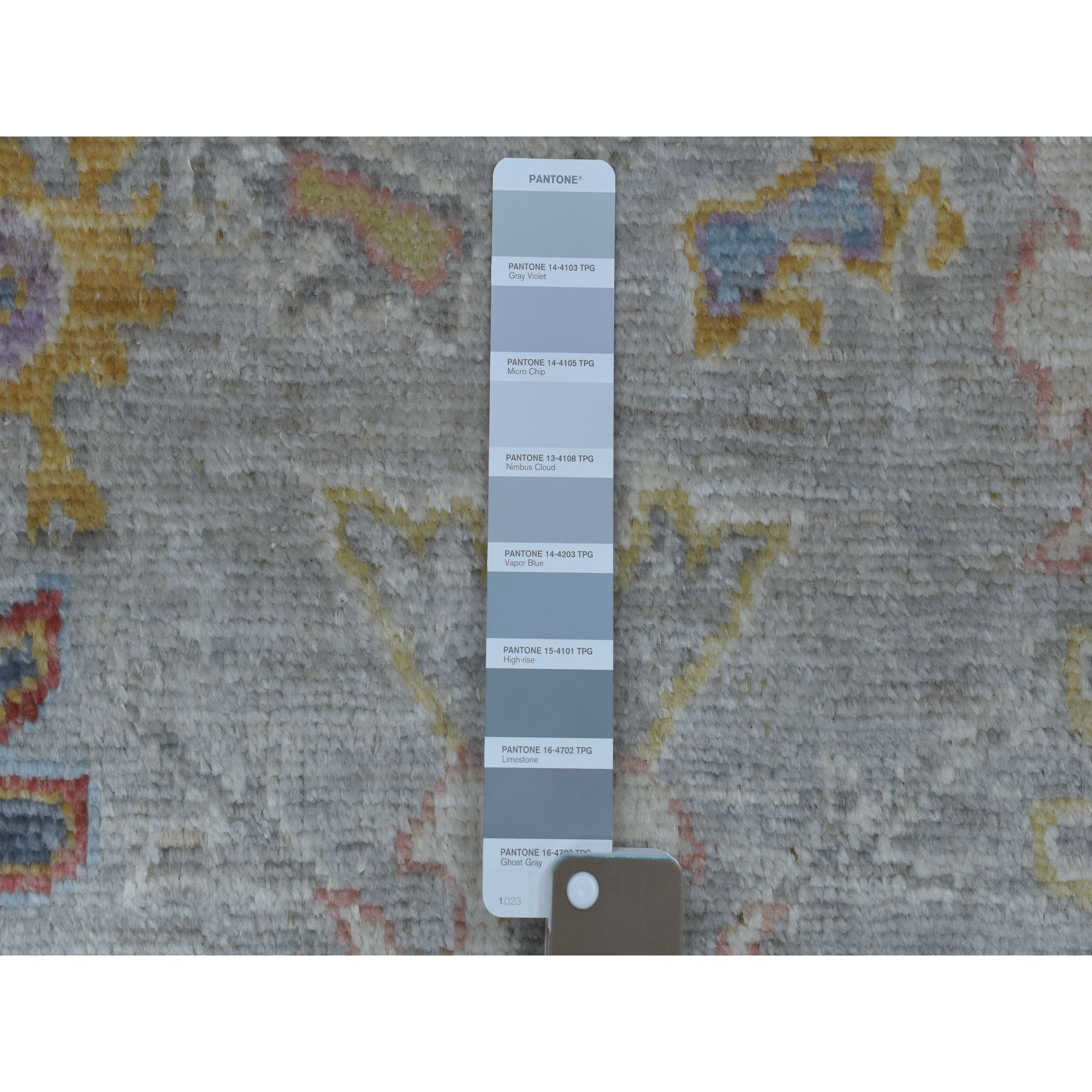 "3'x13'9"" Gray Angora Oushak with Soft Velvety Wool Hand Knotted Runner Oriental Rug"