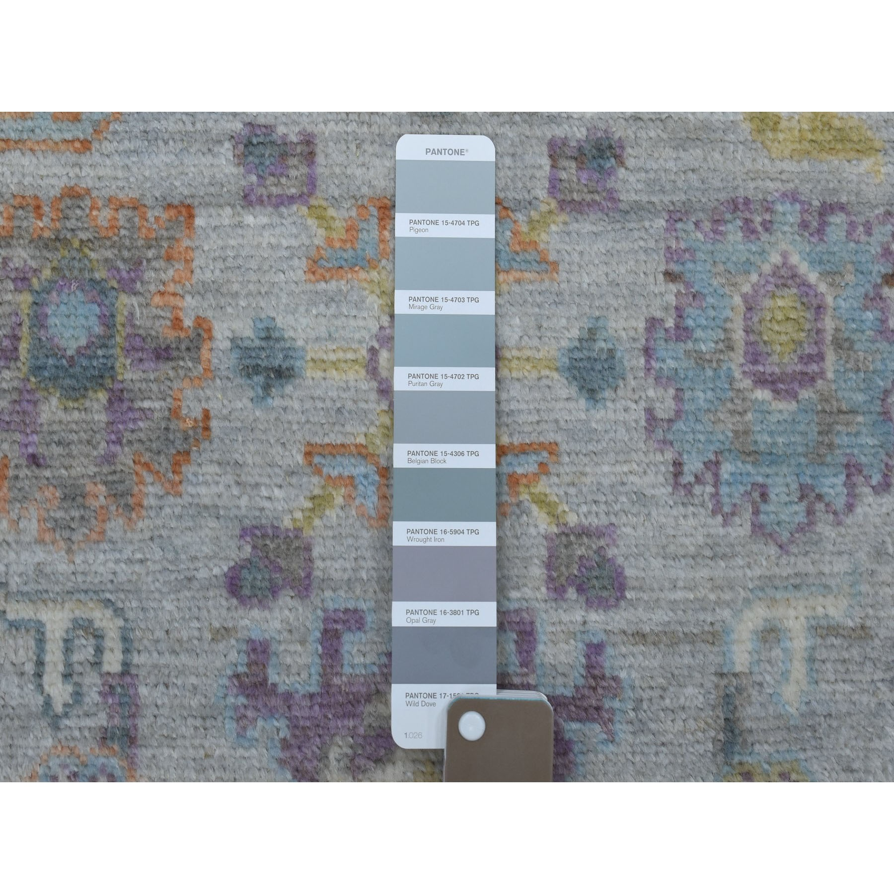 """2'9""""x8' Gray Angora Oushak With Soft Velvety Wool Hand Knotted Runner Oriental Rug"""