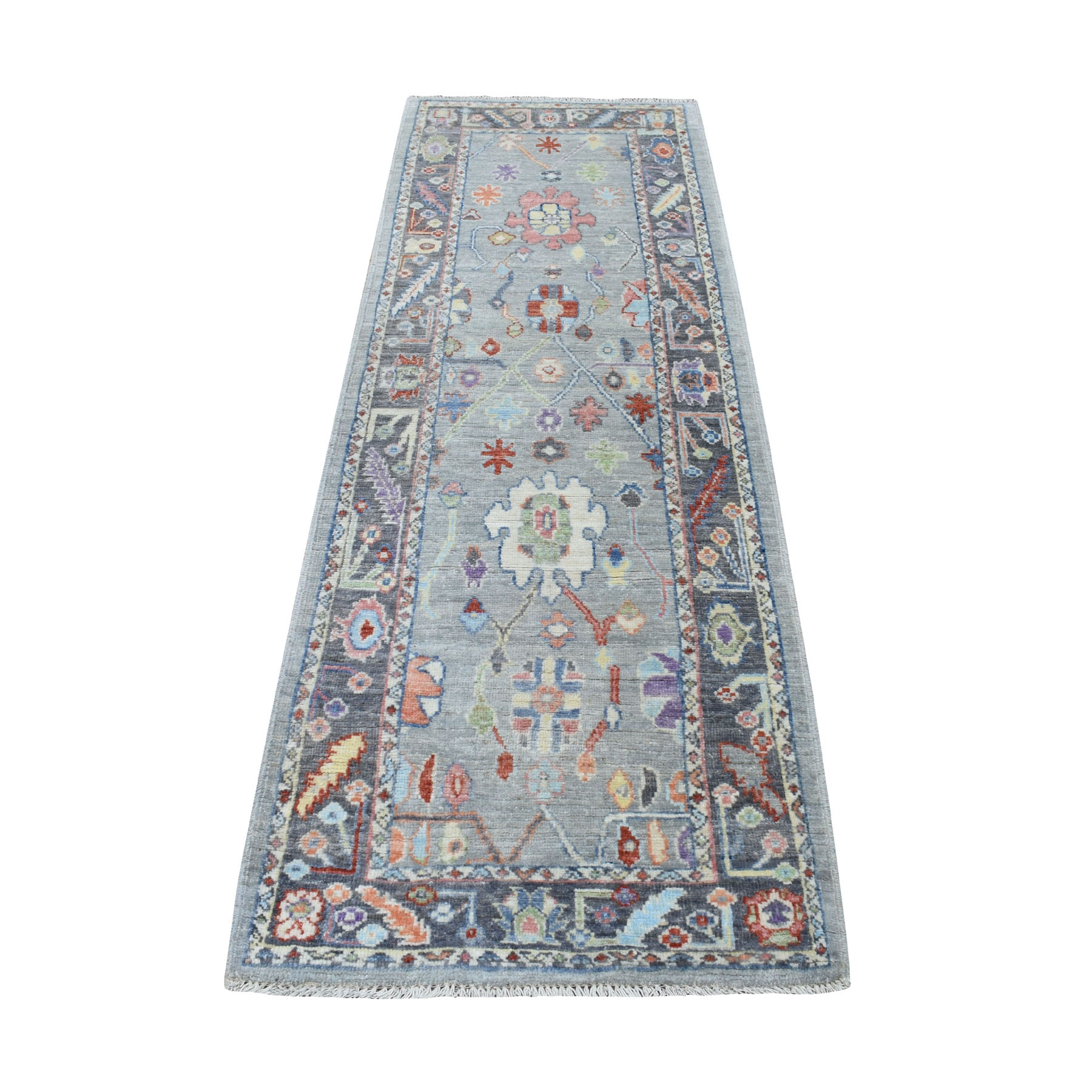 """2'7""""x7'6"""" Gray Angora Oushak With Soft Wool Runner Hand Knotted Oriental Rug"""