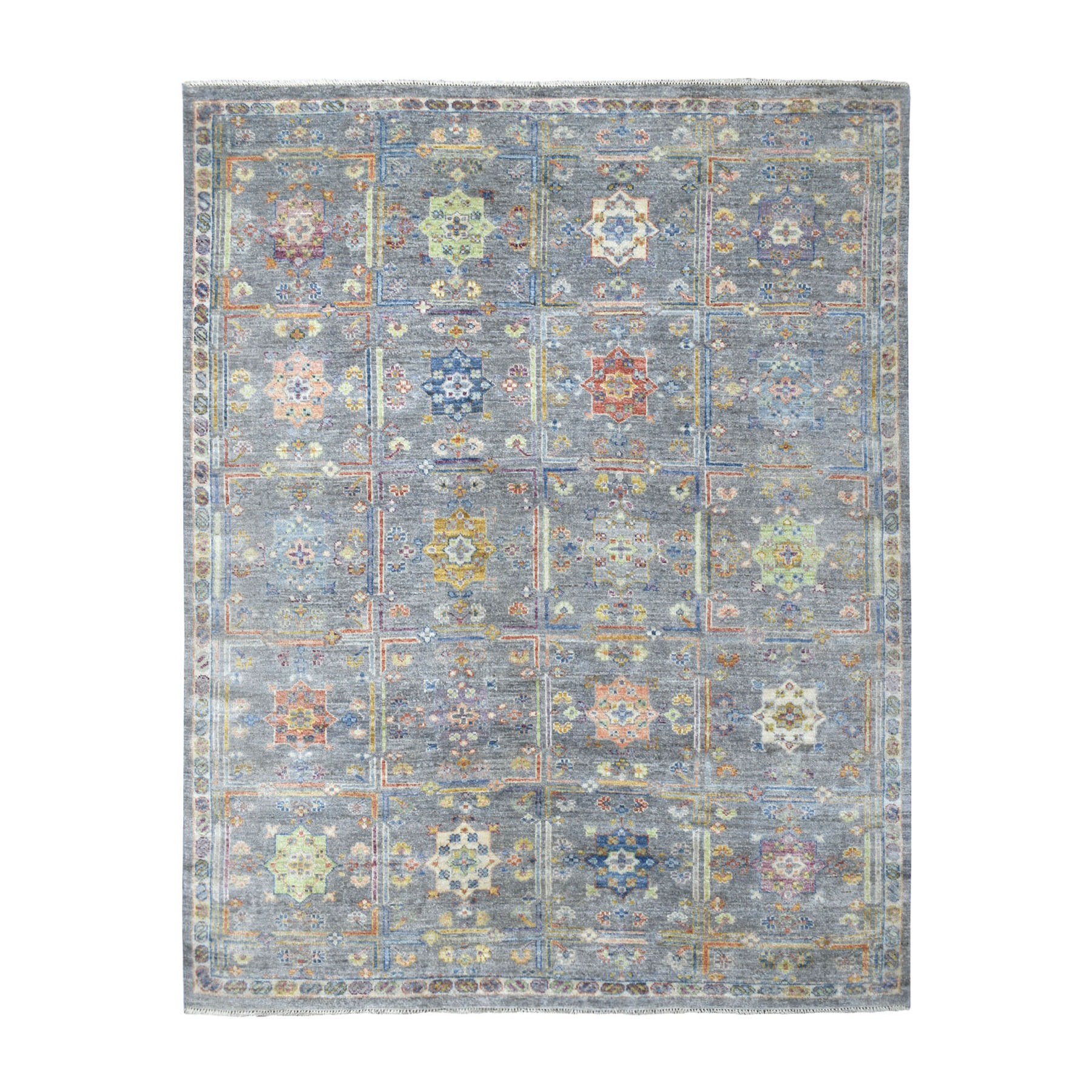 8'X10' Gray Box Design With Rosettes ,Anatolian Soft Wool Hand Knotted Oriental Rug moaede80
