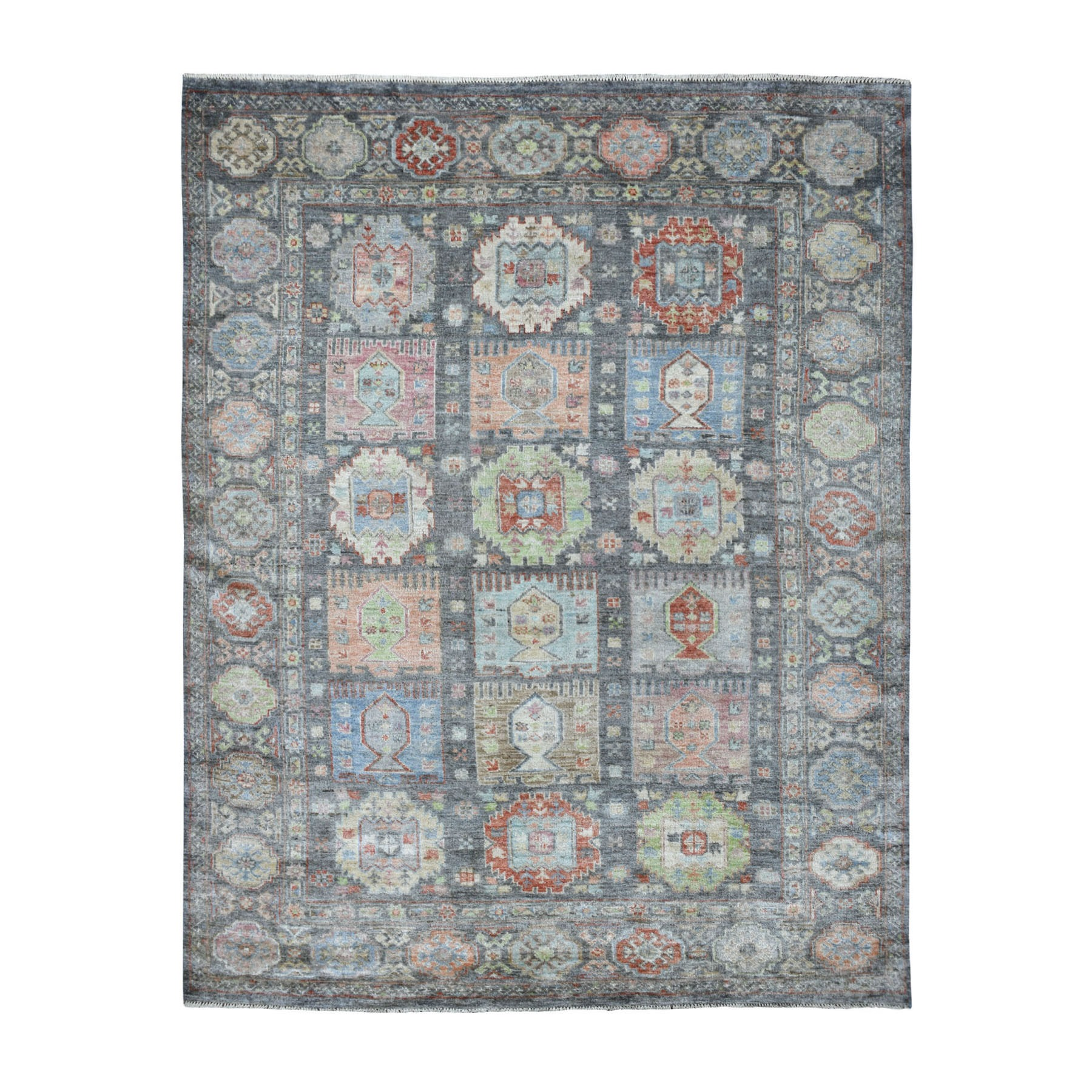 8'X10' Charcoal Gray Garden Design Soft Wool Hand Knotted Oriental Rug moaede8a