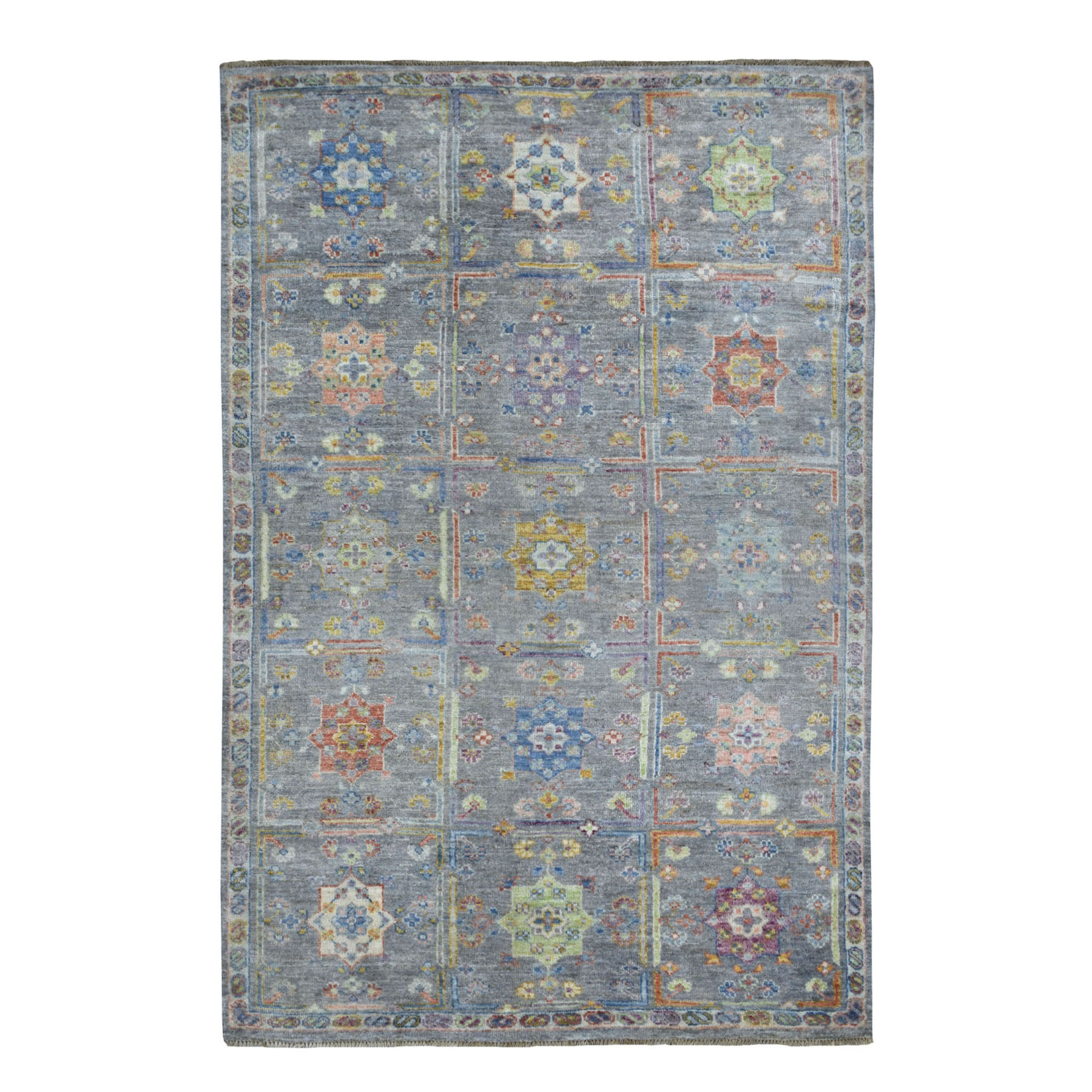 6'X9' Gray Box Design With Rosettes, Anatolian Soft Wool Hand Knotted Oriental Rug moaede8b