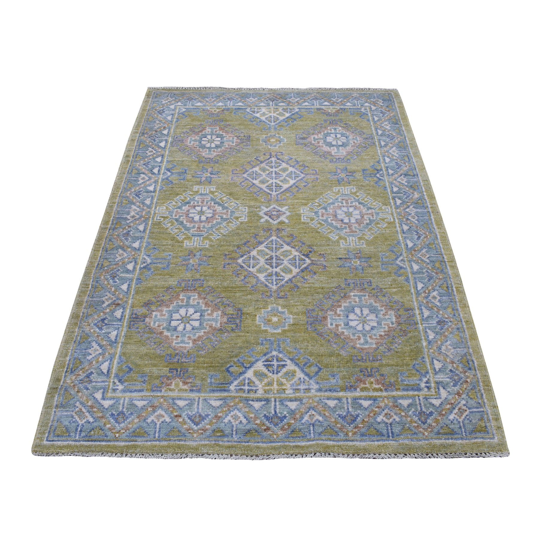 """4'X5'10"""" Mustard Green Anatolian Collection Soft Wool Hand Knotted Oriental Rug moaede8e"""