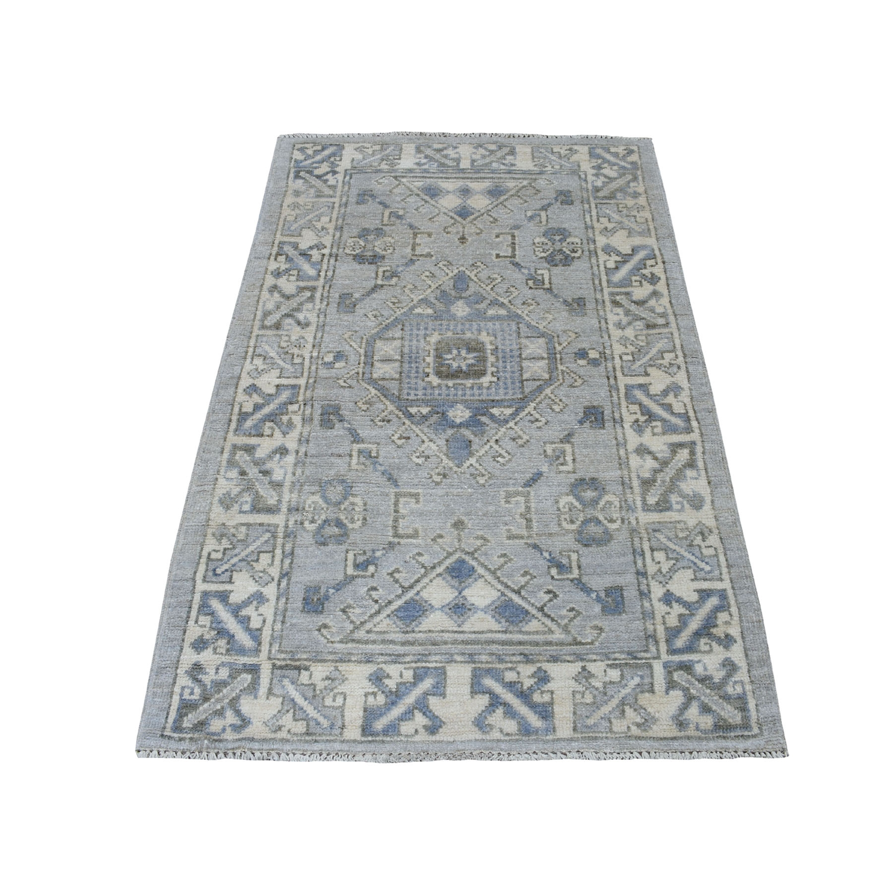 "3'1""x5' Gray Anatolian With Large Elements Soft Wool Hand knotted Oriental Rug"