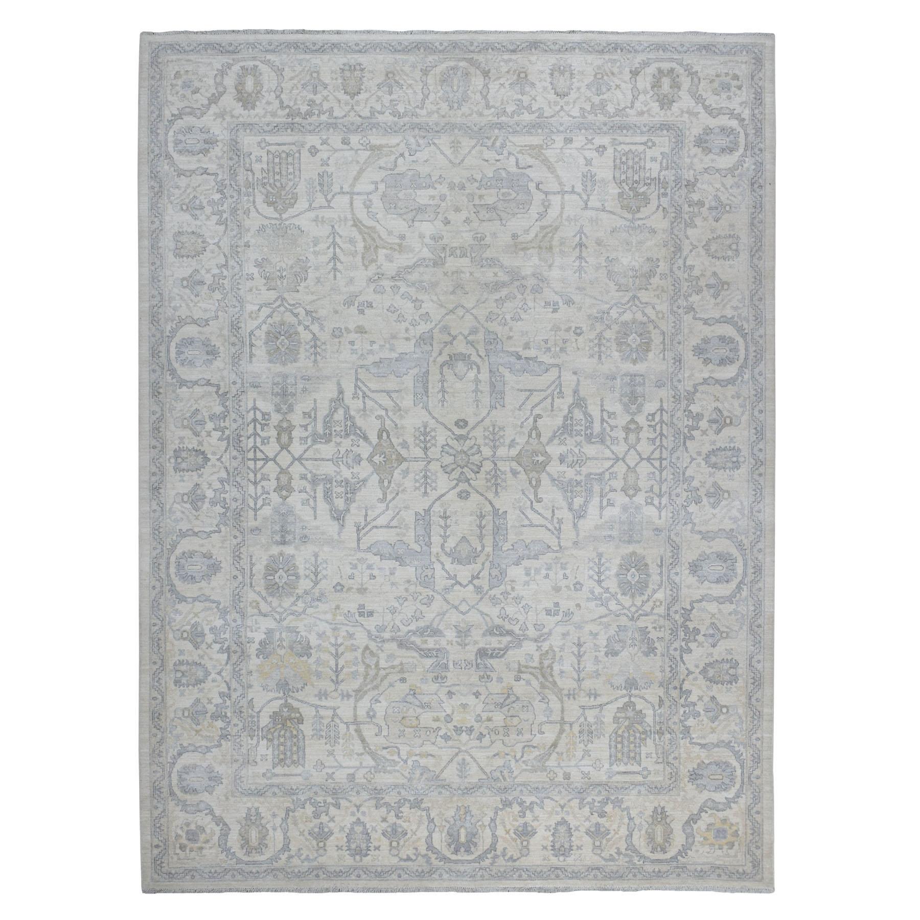 "8'9""x11'6"" White Wash Peshawar Hand Knotted Organic Wool Oriental Rug"