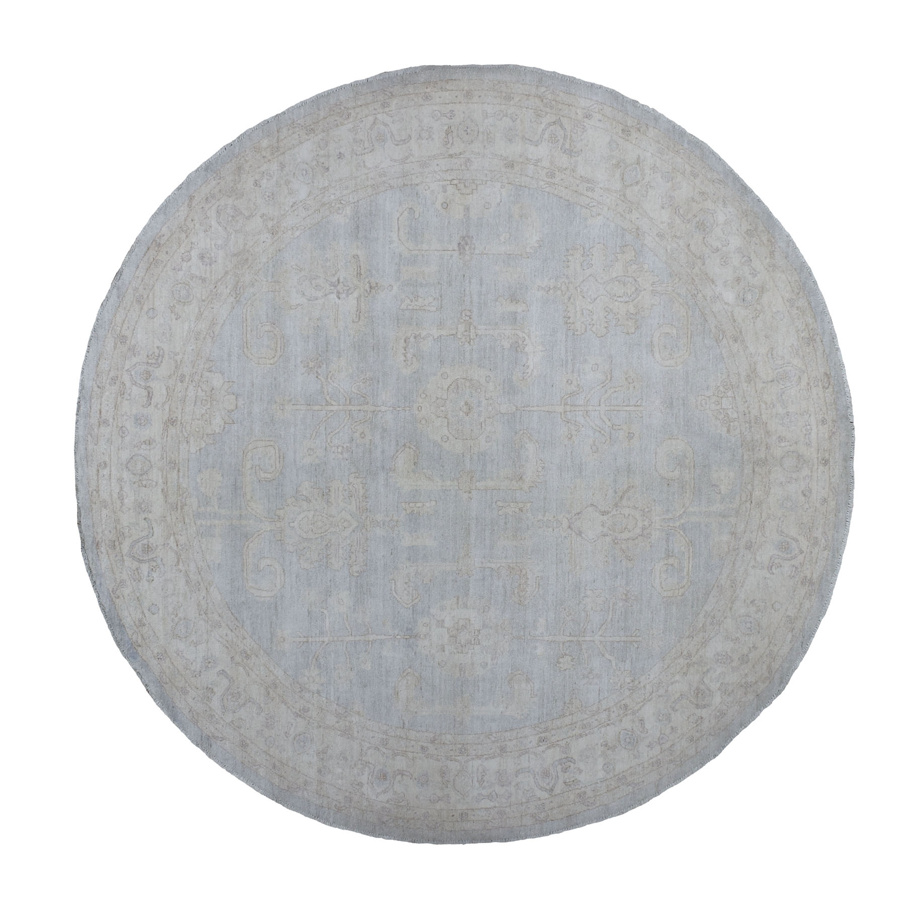 10'x10' Gray Stone Wash Peshawar Pure Wool Hand Knotted Round Oriental Rug