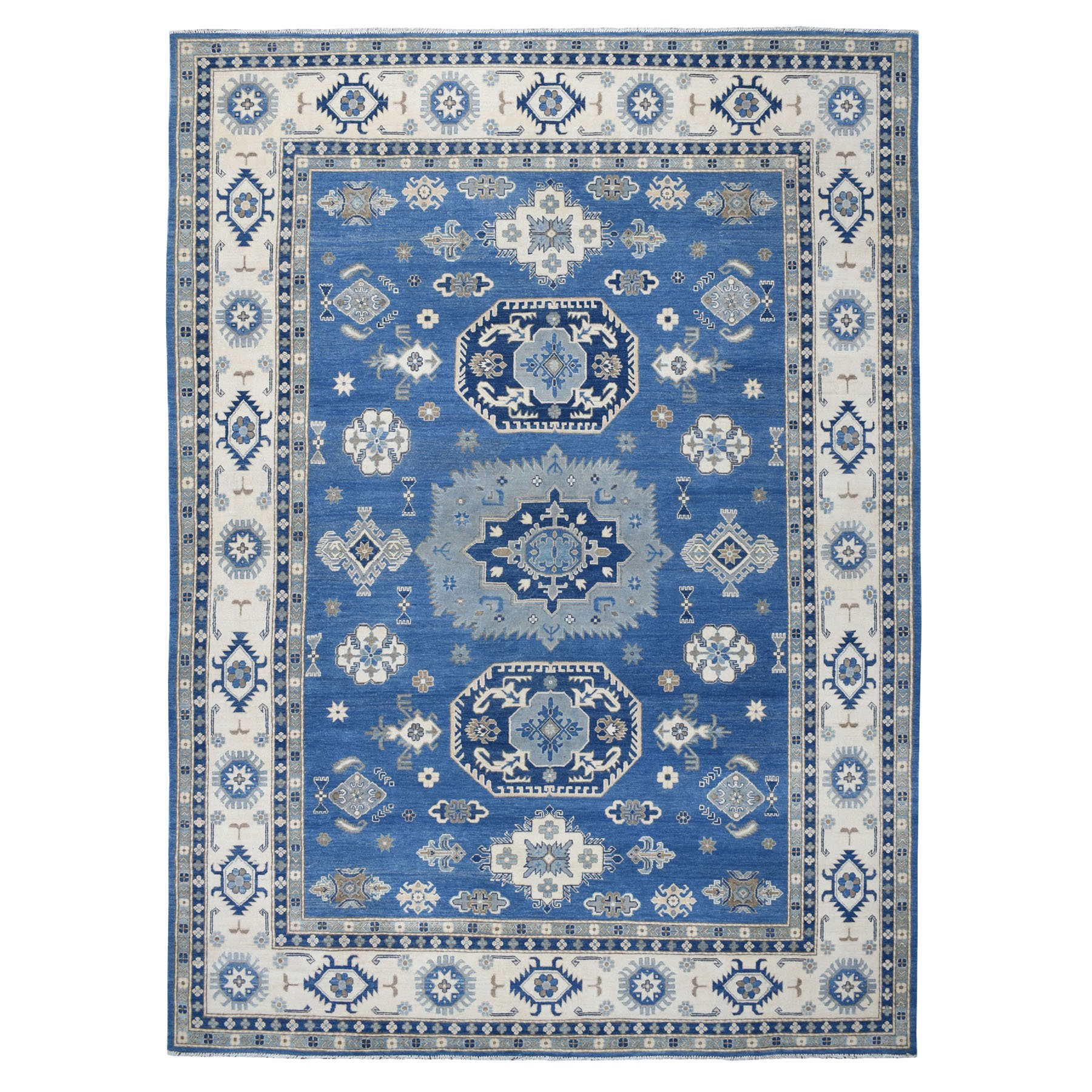 "8'6""x11'10"" Blue Vintage Look Kazak Pure Wool Hand Knotted Oriental Rug"