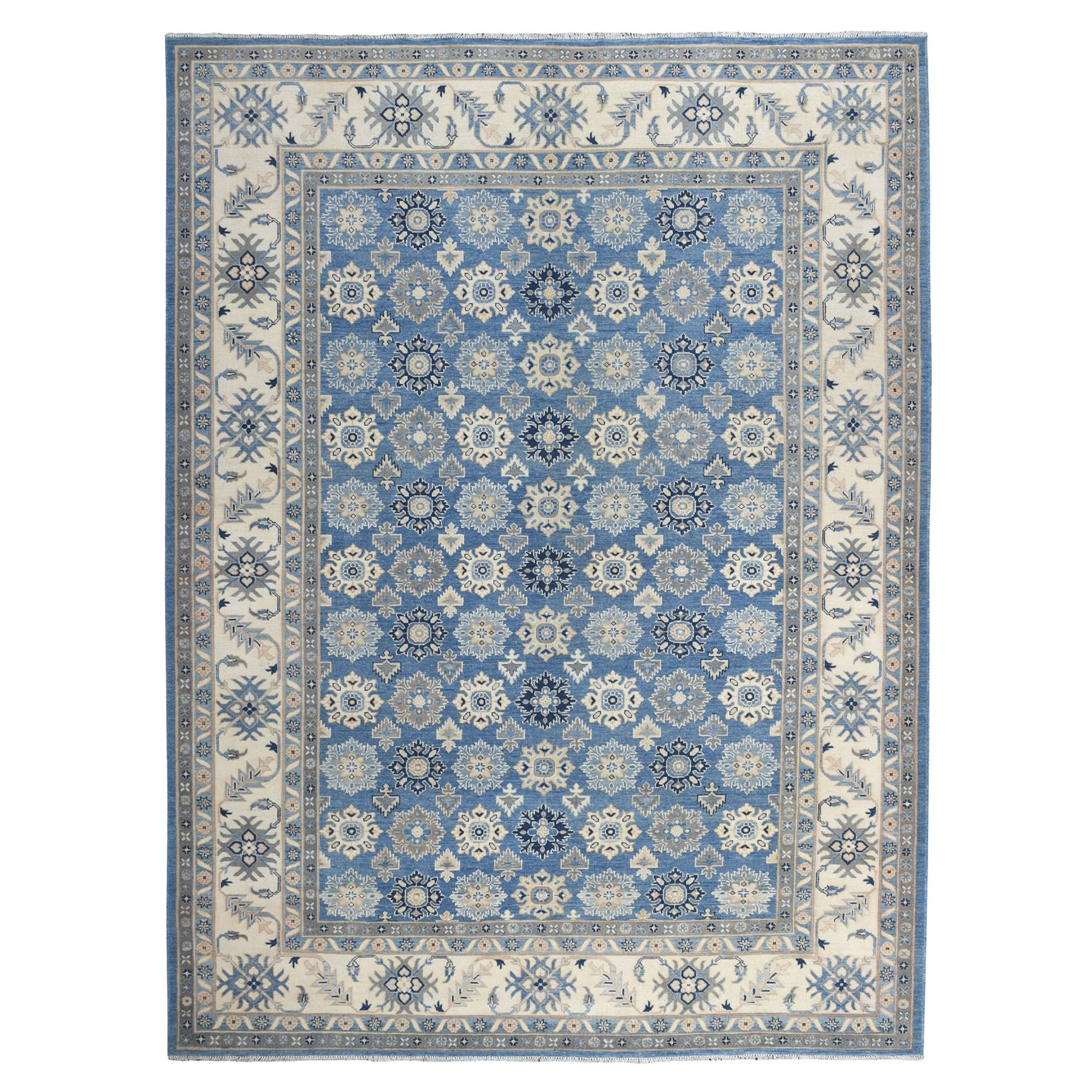 "9'1""x11'7"" Blue All Over Design Hand Knotted Organic Wool Vintage Look Kazak Oriental Rug"