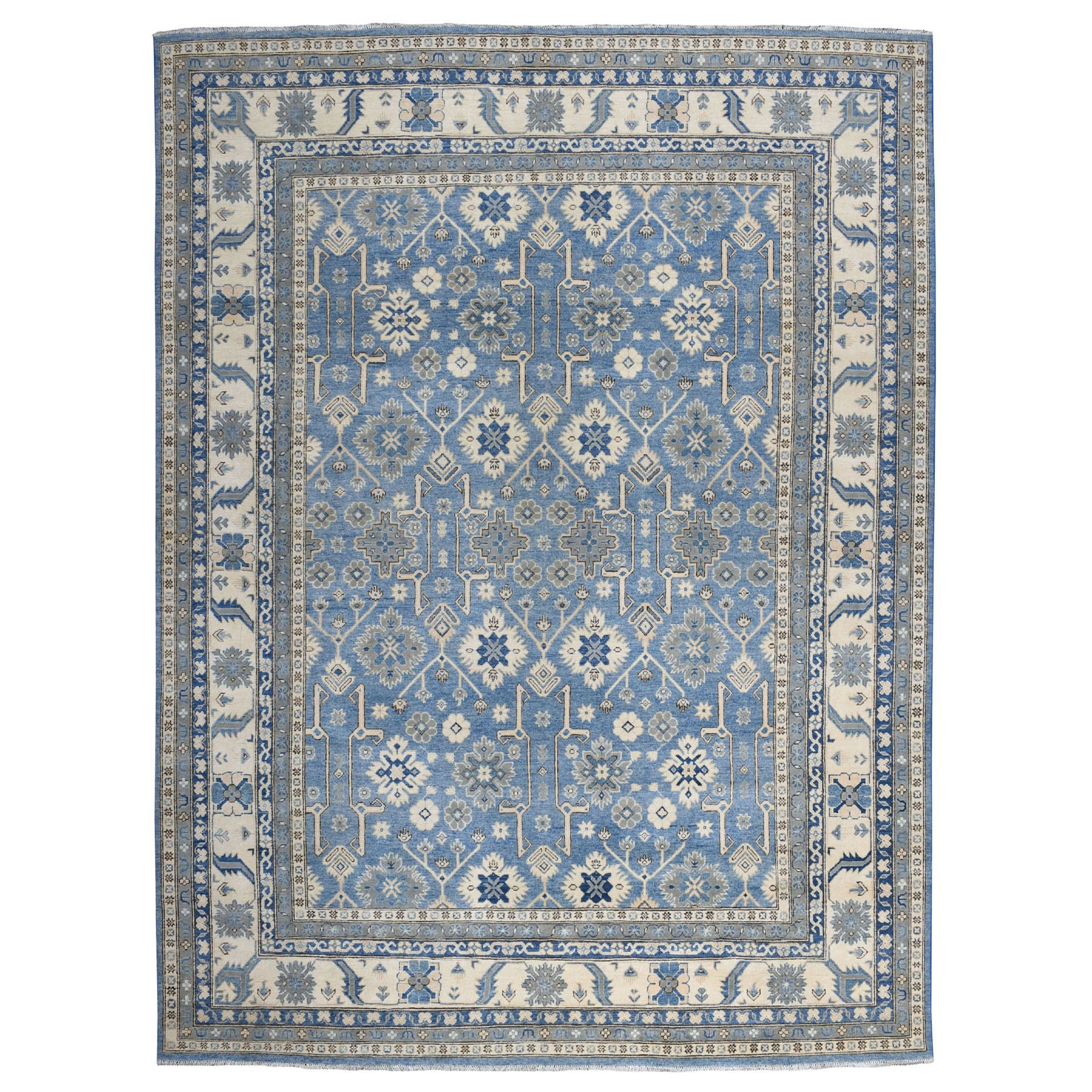 "9'x11'8"" Blue All Over Design Hand Knotted Organic Wool Vintage Look Kazak Oriental Rug"