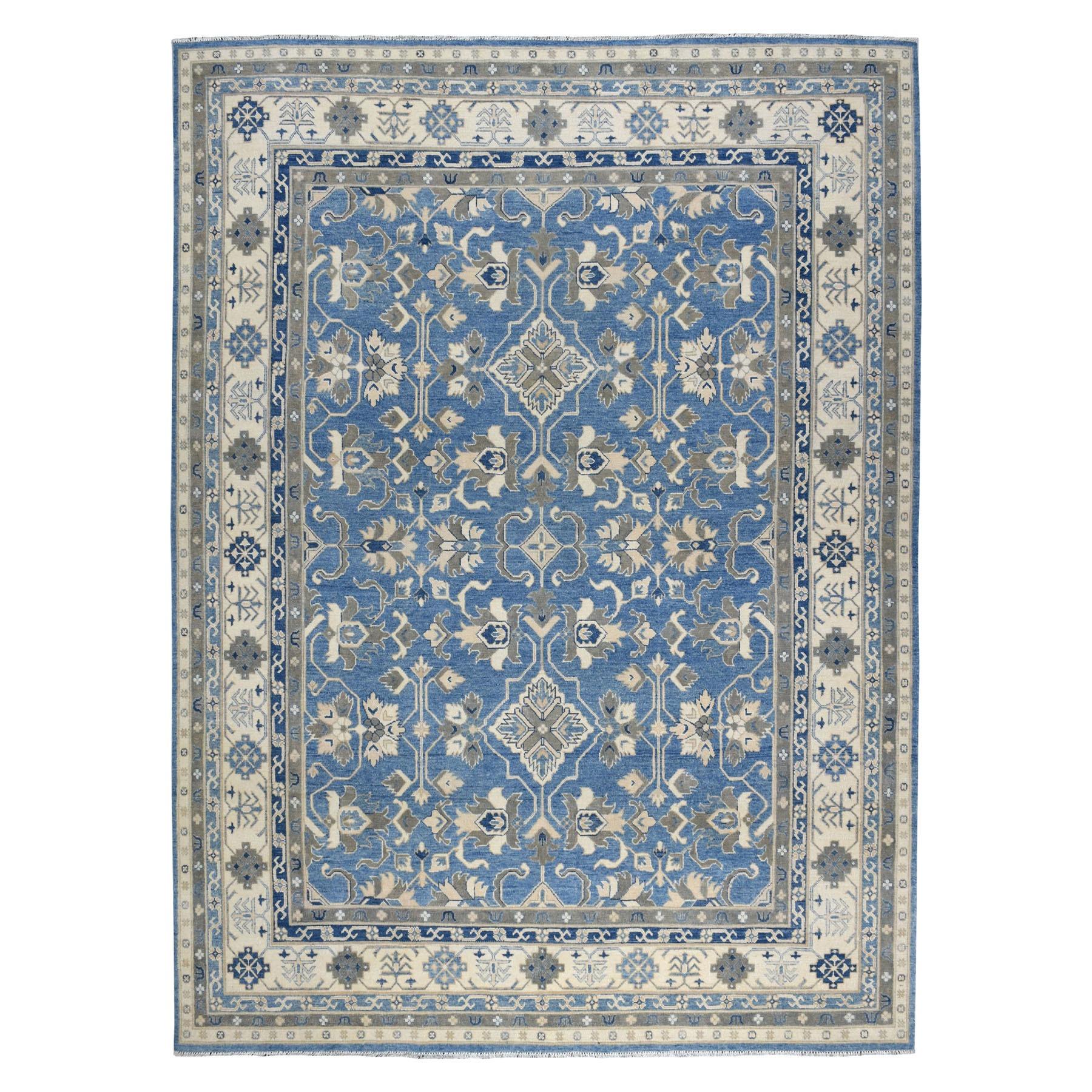"9'x11'8"" Blue Vintage Look Kazak Organic Wool Hand Knotted Oriental Rug 54596"