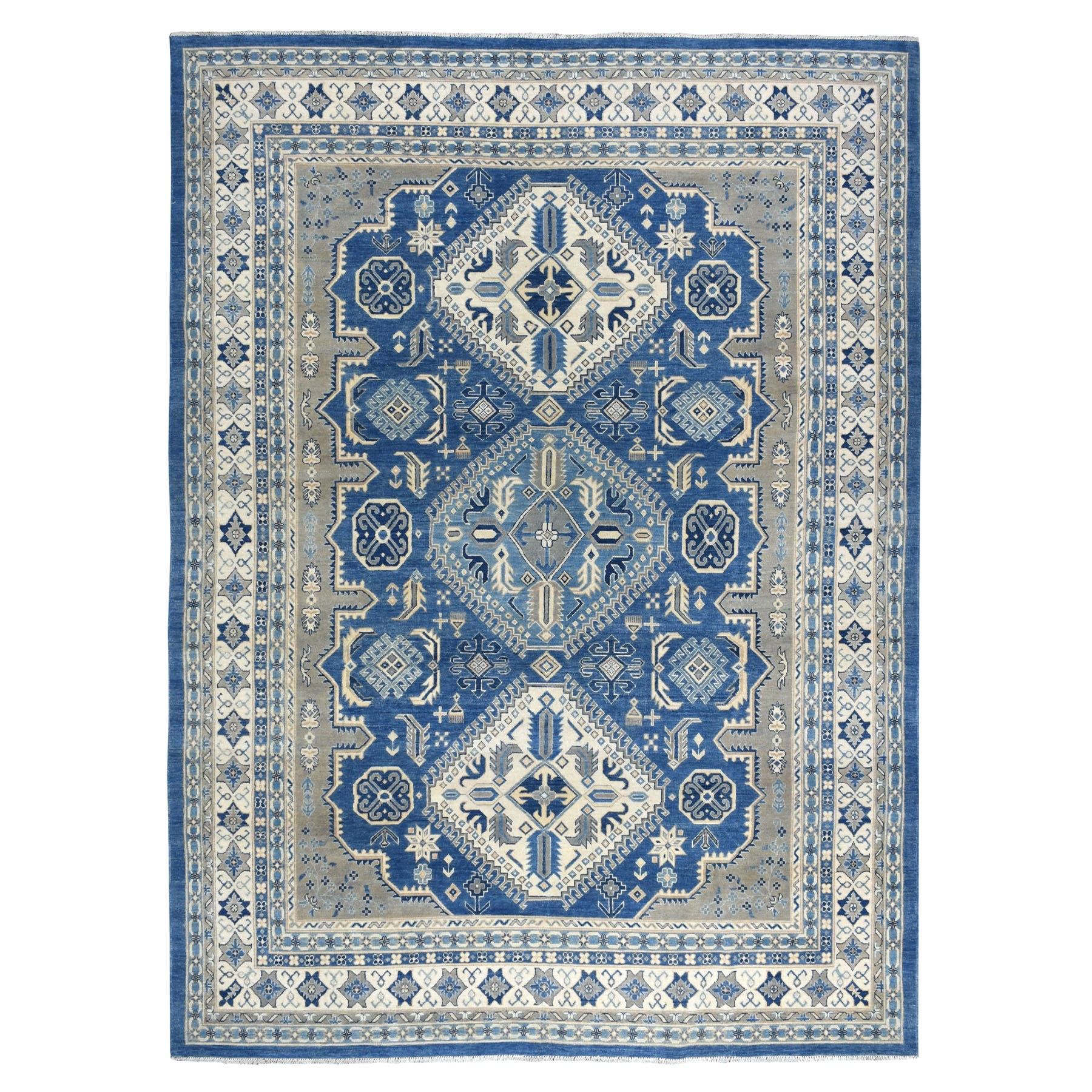 "8'10""x11'8"" Blue Vintage Look Kazak Pure Wool Tribal Design Hand Knotted Oriental Rug"
