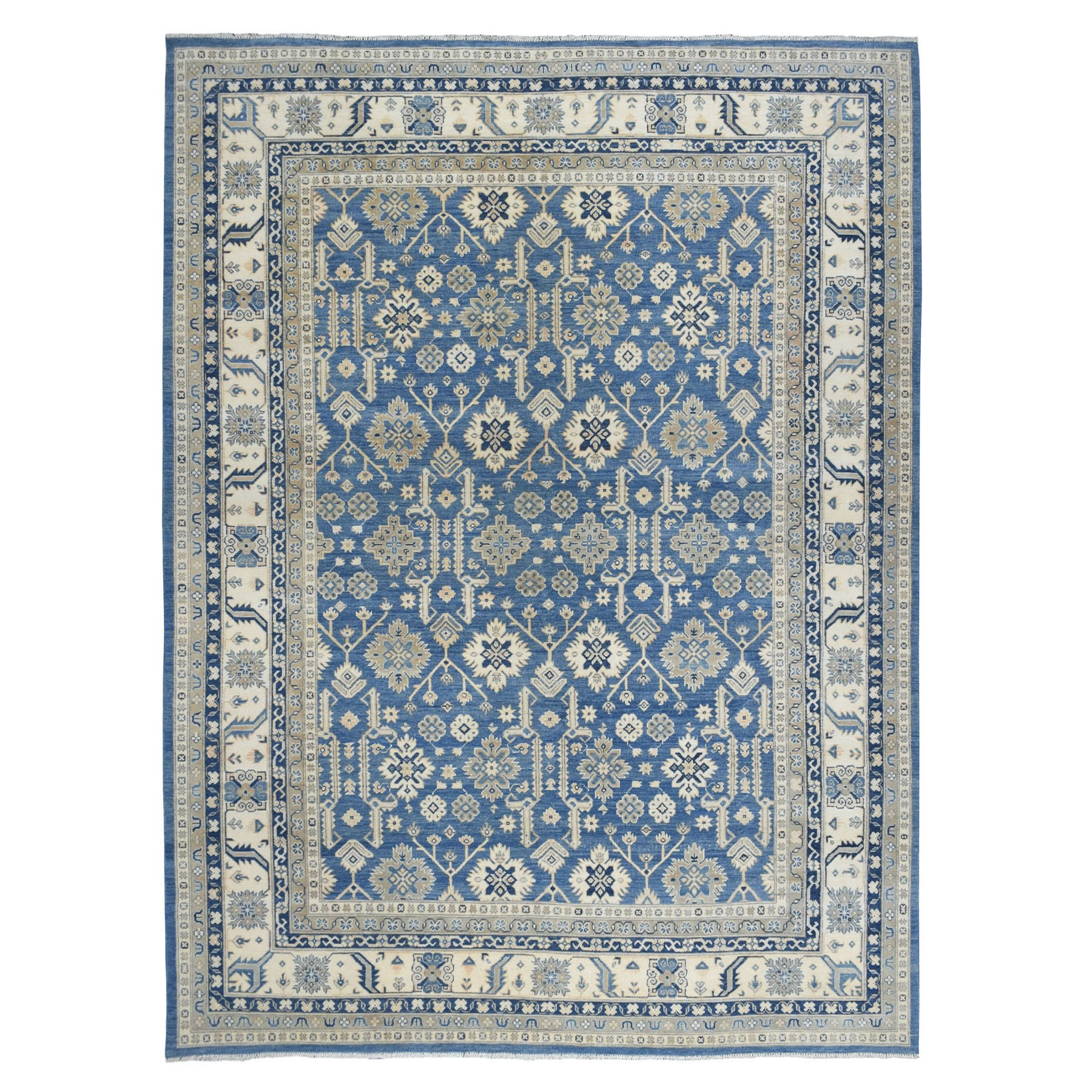 "9'x11'9"" Blue All Over Design Hand Knotted Pure Wool Vintage Look Kazak Oriental Rug"