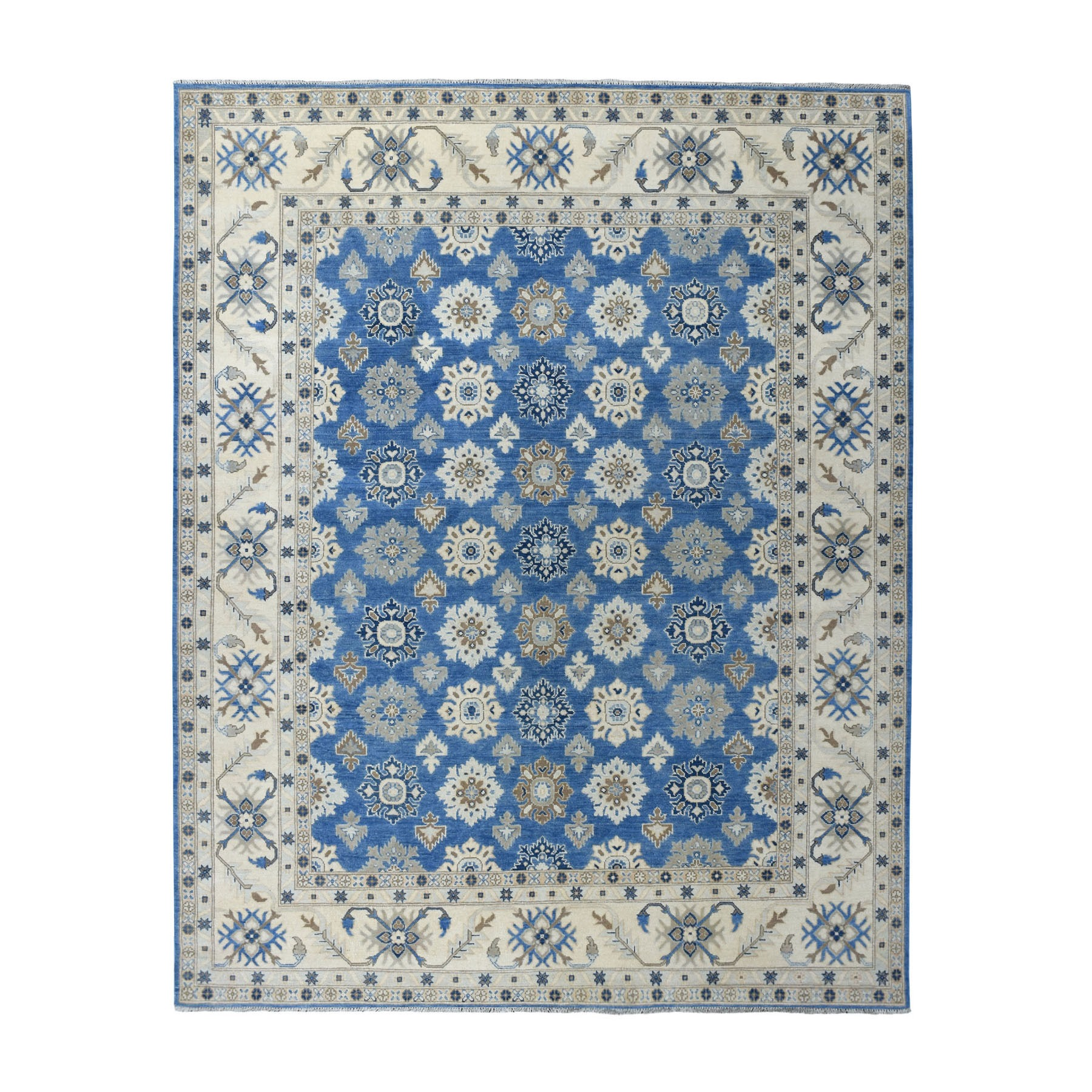 "8'2""x10' Blue Vintage Look Kazak Pure Wool Hand Knotted Oriental Rug"