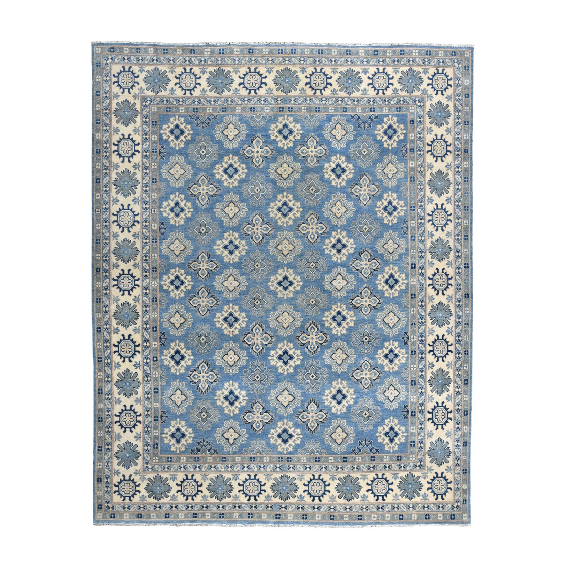 "7'10""x9'6"" Blue All Over Design Hand Knotted 100% Wool Vintage Look Kazak Oriental Rug"