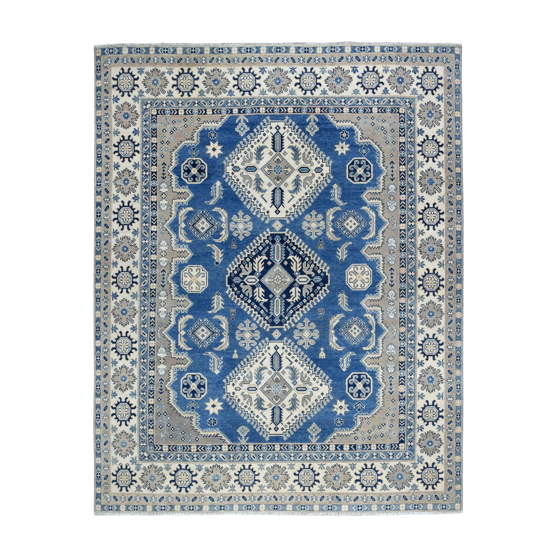 "7'10""x9'10"" Blue Vintage Look Kazak Pure Wool Tribal Design Hand Knotted Oriental Rug"