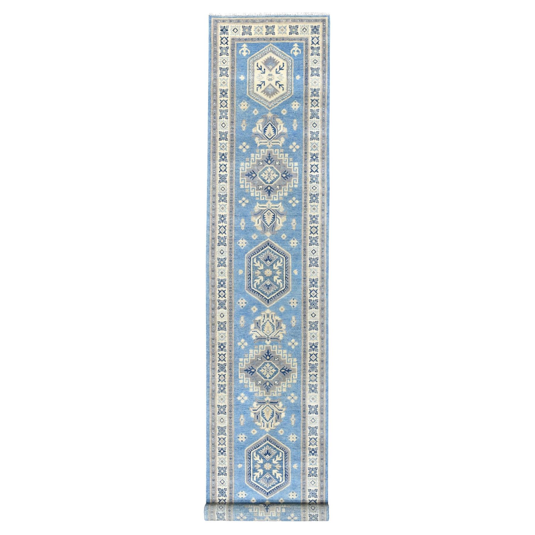 "2'9""X16' Blue Hand Knotted Vintage Look Kazak Geometric Design Pure Wool Xl Runner Oriental Rug moaed60b"