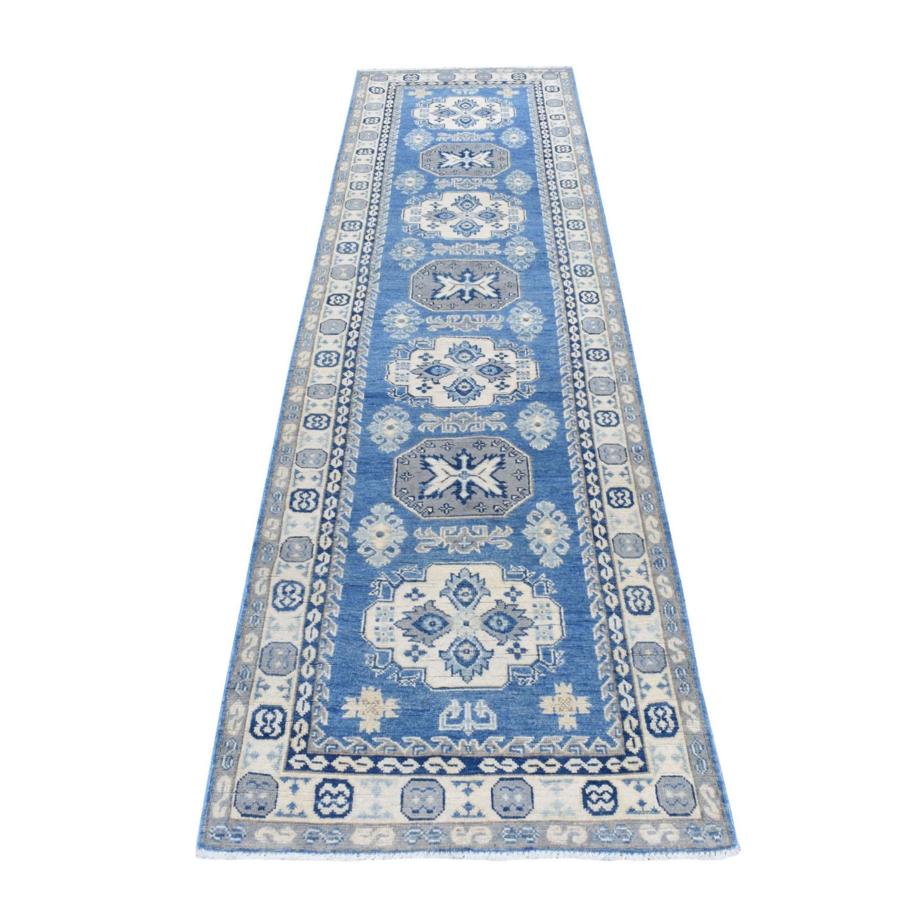 "2'7""x9'8"" Blue Vintage Look Kazak Organic Wool Tribal Design Hand Knotted Runner Oriental Rug"