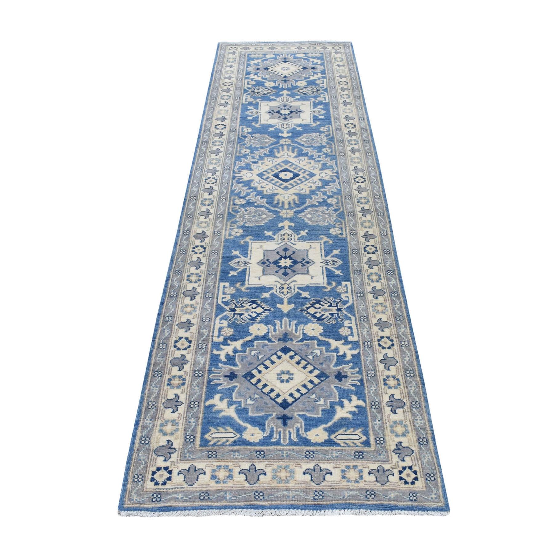 "2'7""x9'6"" Blue Vintage Look Kazak Organic Wool Geometric Design Hand Knotted Runner Oriental Rug"