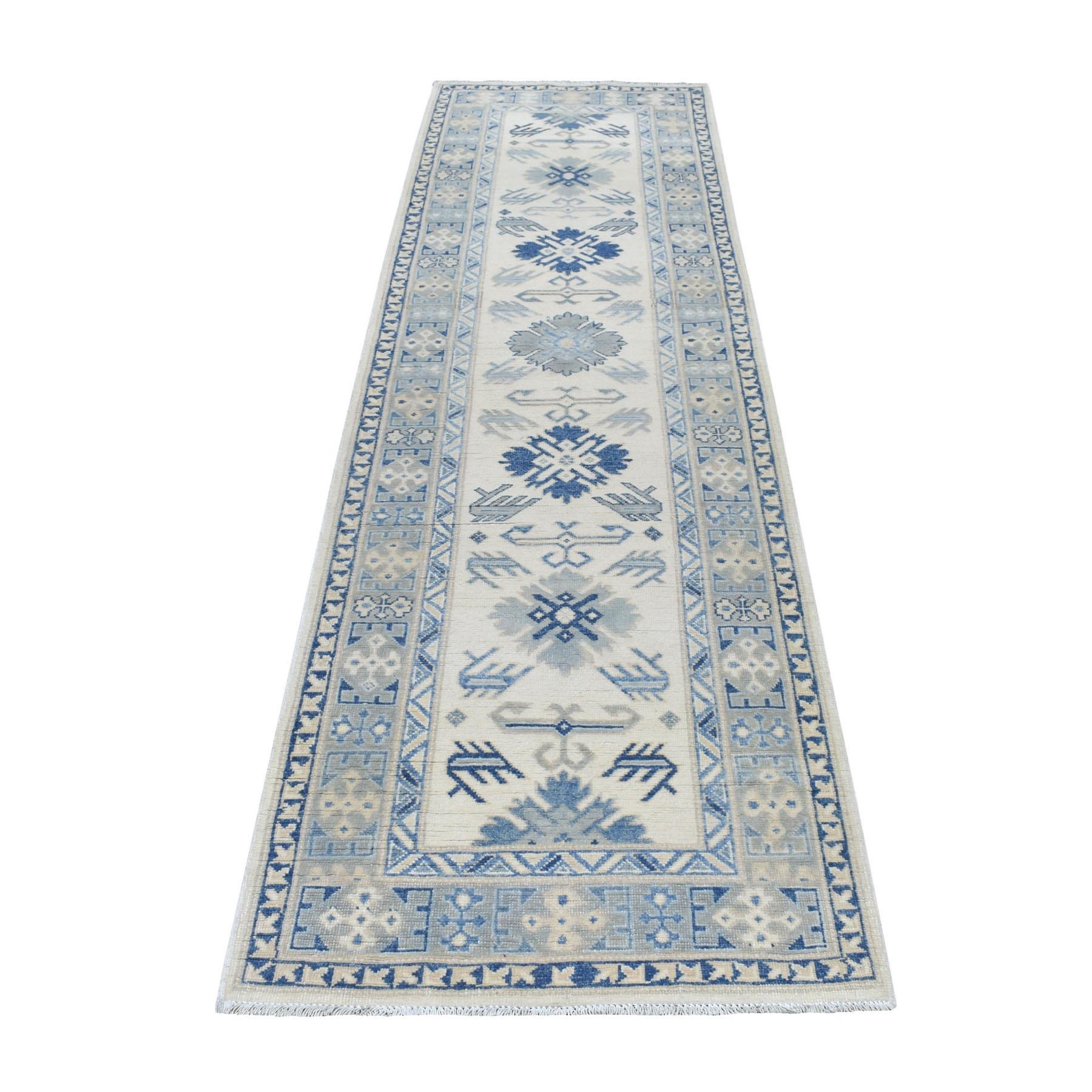 "2'9""x9'8"" Ivory Vintage Look Kazak Pure Wool Tribal Design Hand Knotted Runner Oriental Rug"