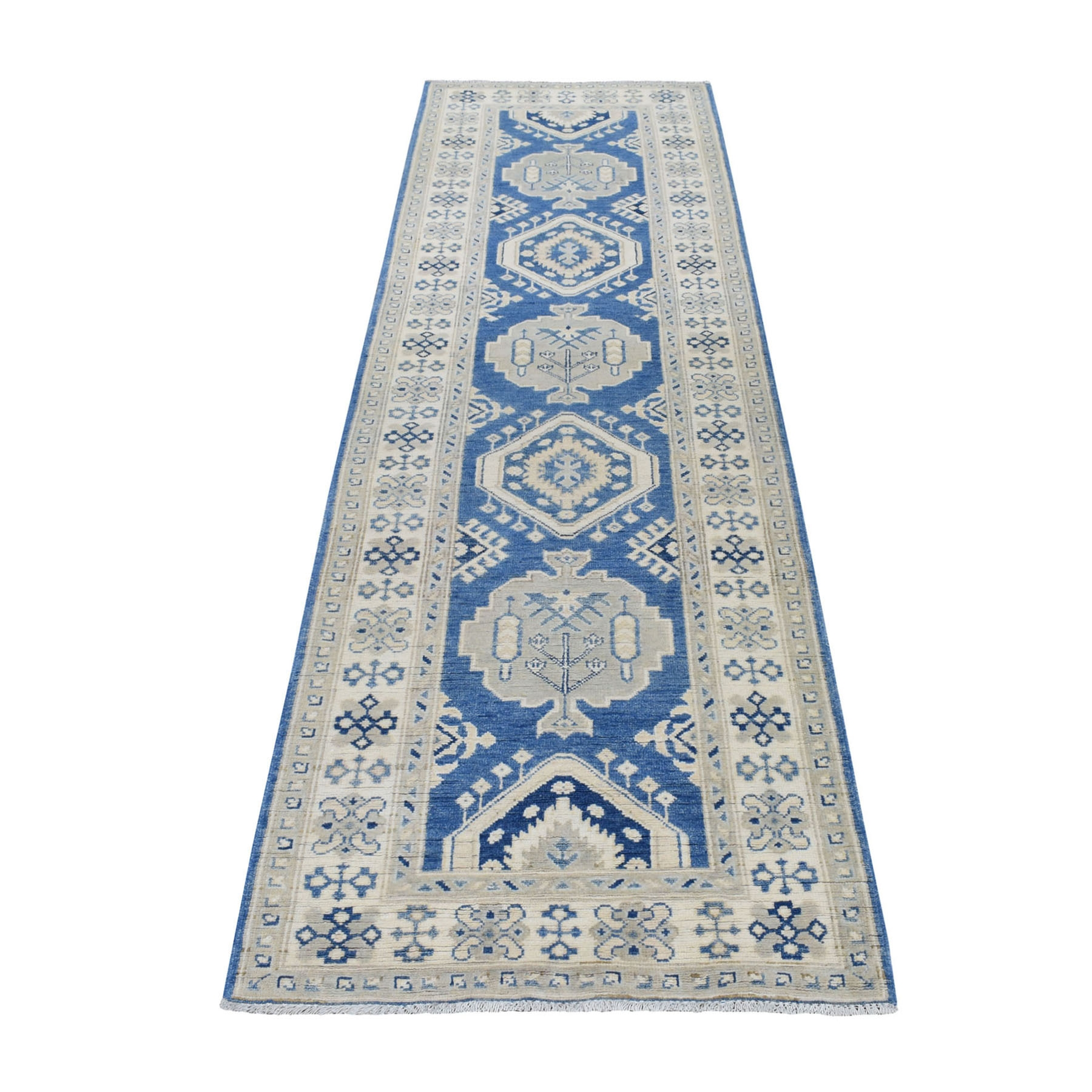 """2'9""""X9'7"""" Blue Vintage Look Kazak Pure Wool Tribal Design Hand Knotted Runner Oriental Rug moaed6a0"""