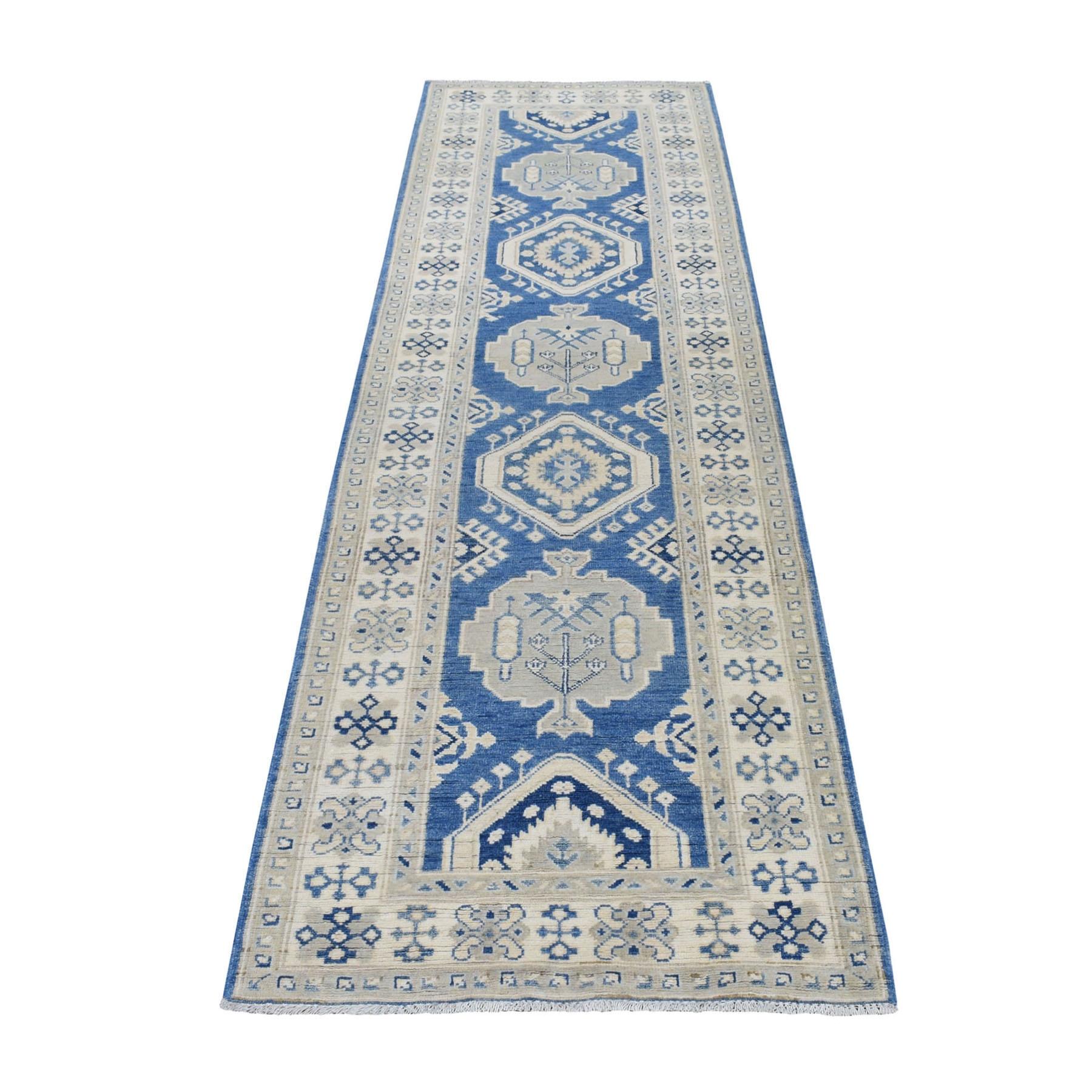 "2'9""x9'7"" Blue Vintage Look Kazak Pure Wool Tribal Design Hand Knotted Runner Oriental Rug"