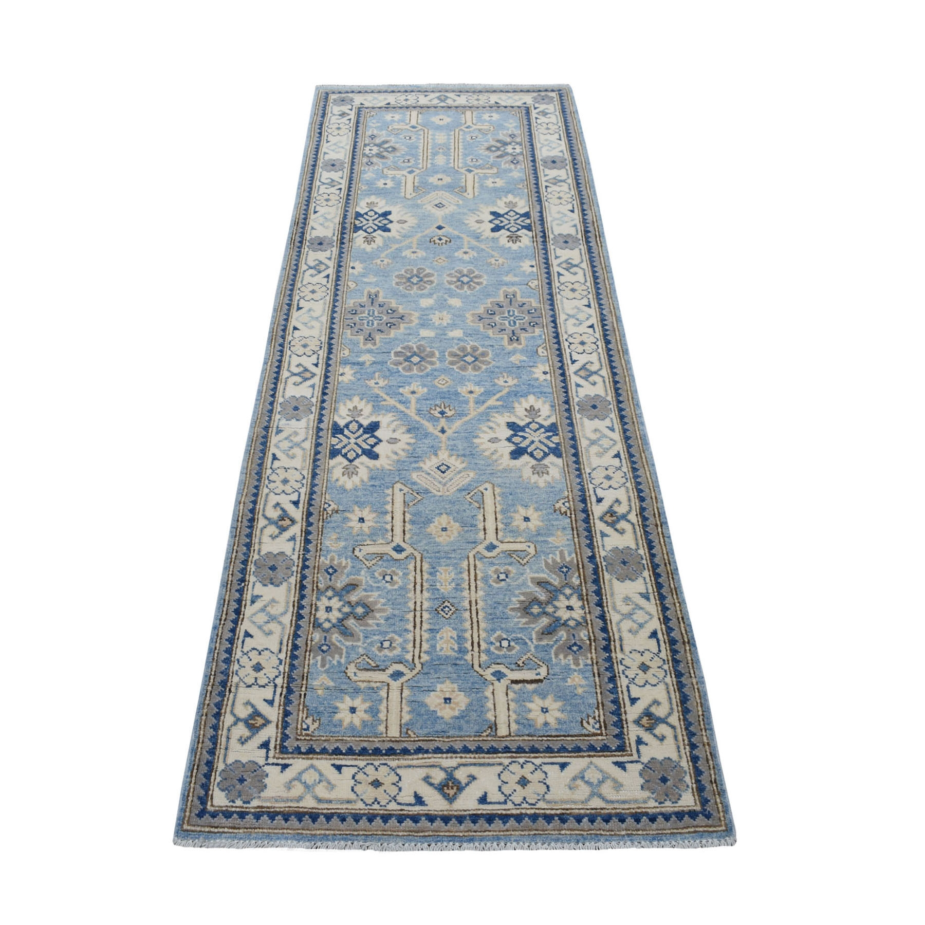 "2'6""x7'8"" Blue Vintage Look Kazak Organic Wool Tribal Design Hand Knotted Runner Oriental Rug"