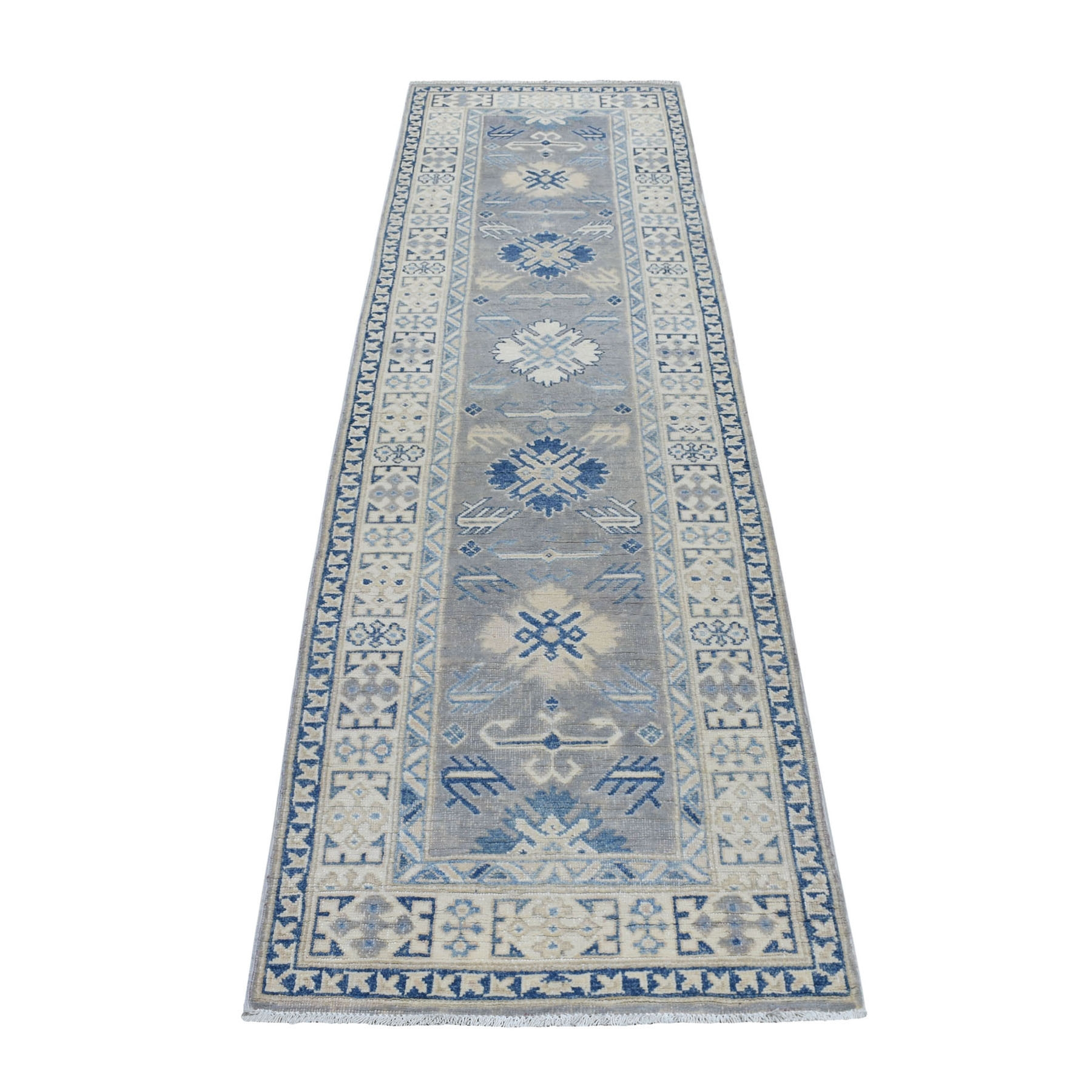"2'6""x9'4"" Gray Vintage Look Kazak Pure Wool Tribal Design Hand Knotted Runner Oriental Rug"