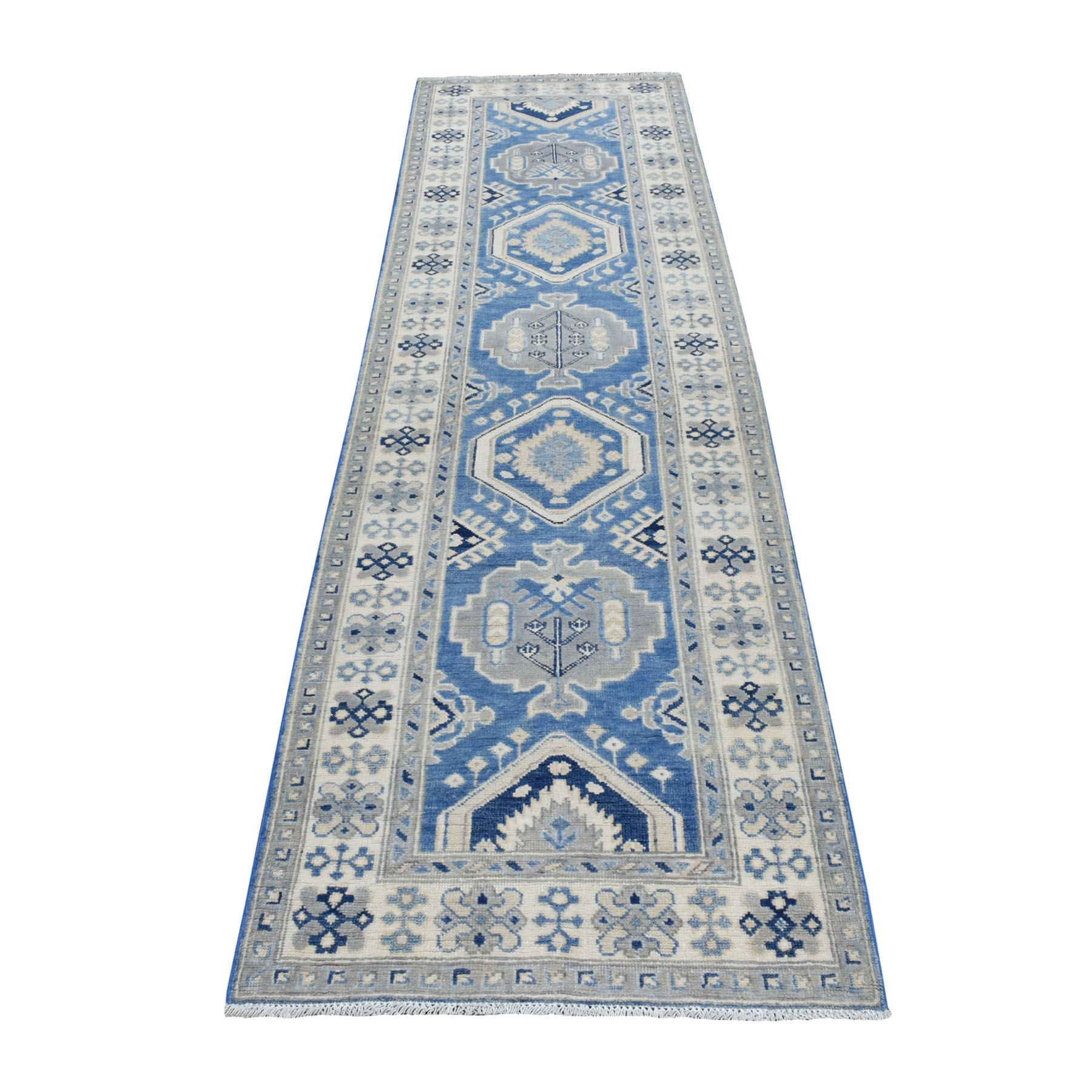 "2'9""x9'10"" Blue Vintage Look Kazak Organic Wool Tribal Design Hand Knotted Runner Oriental Rug"