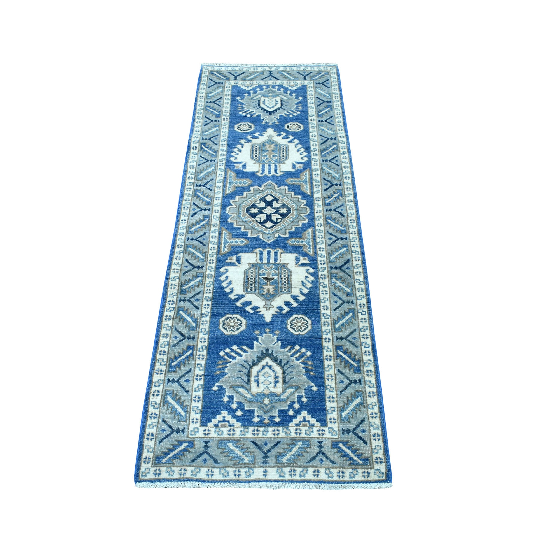 "2'x5'9"" Blue Hand Knotted Vintage Look Kazak Pure Wool Tribal Design Runner Oriental Rug"