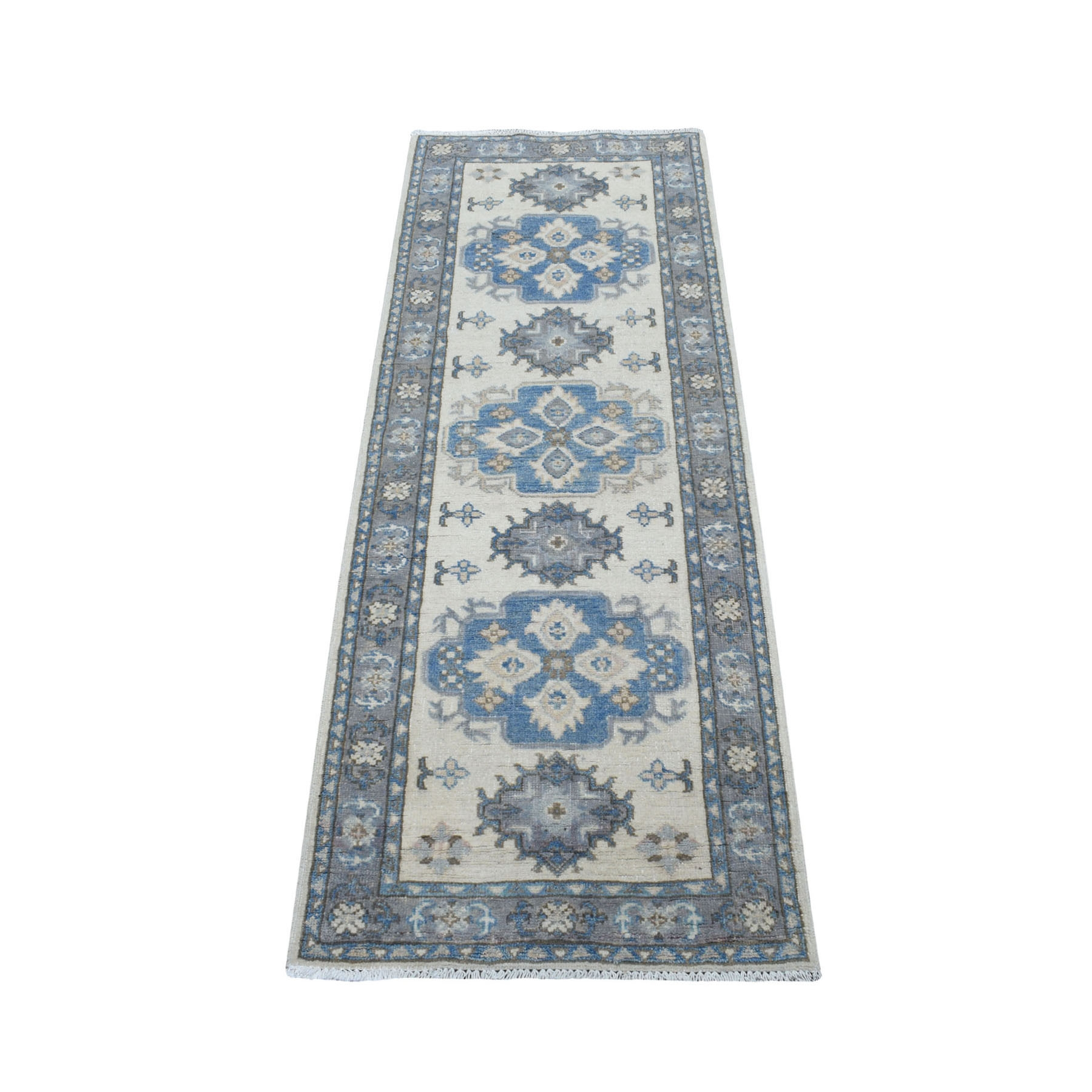"2'1""x5'9"" Ivory Vintage Look Kazak Organic Wool Hand Knotted Runner Oriental Rug"