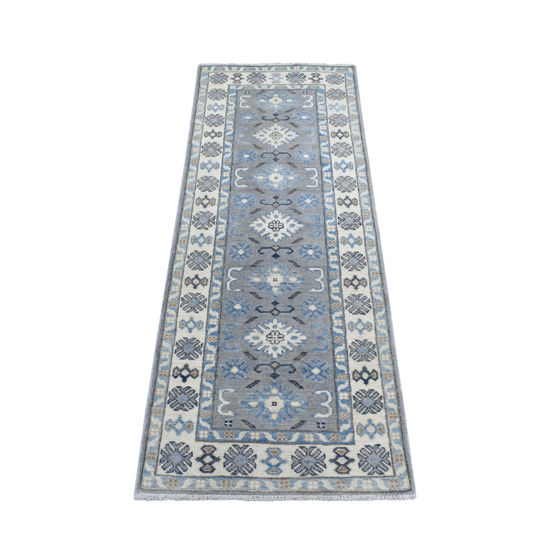 "2'x5'6"" Gray Hand Knotted Vintage Look Kazak Organic Wool Tribal Design Narrow Runner Oriental Rug"