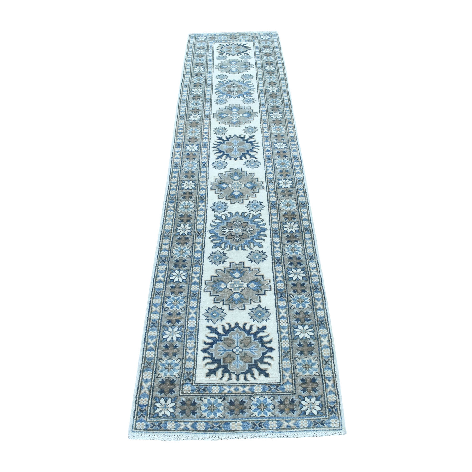 "2'1""x9'5"" Ivory Vintage Look Kazak Organic Wool Tribal Design Hand Knotted Runner Oriental Rug"