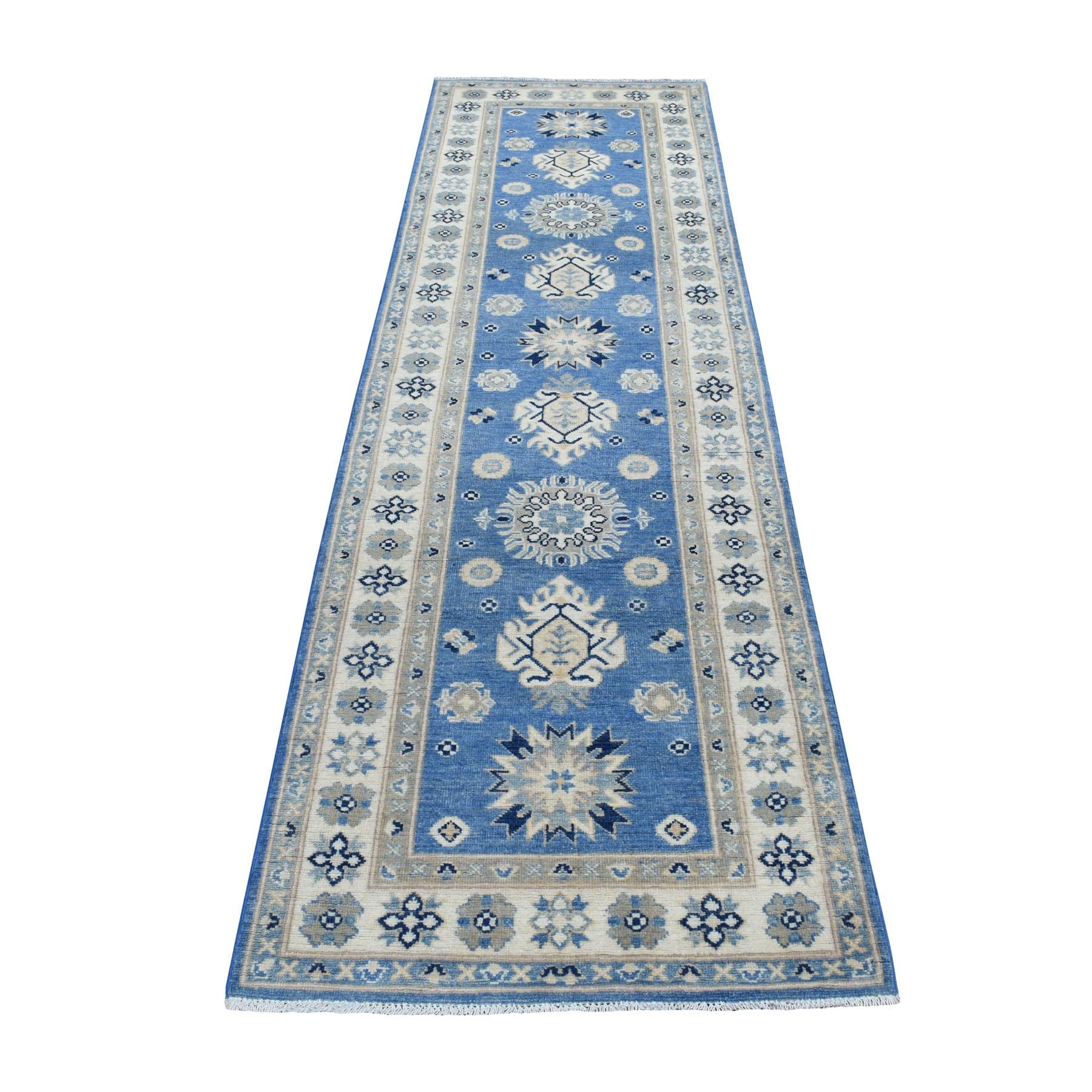"2'9""x9'6"" Blue Organic Wool Vintage Look Kazak Hand Knotted Runner Oriental Rug"
