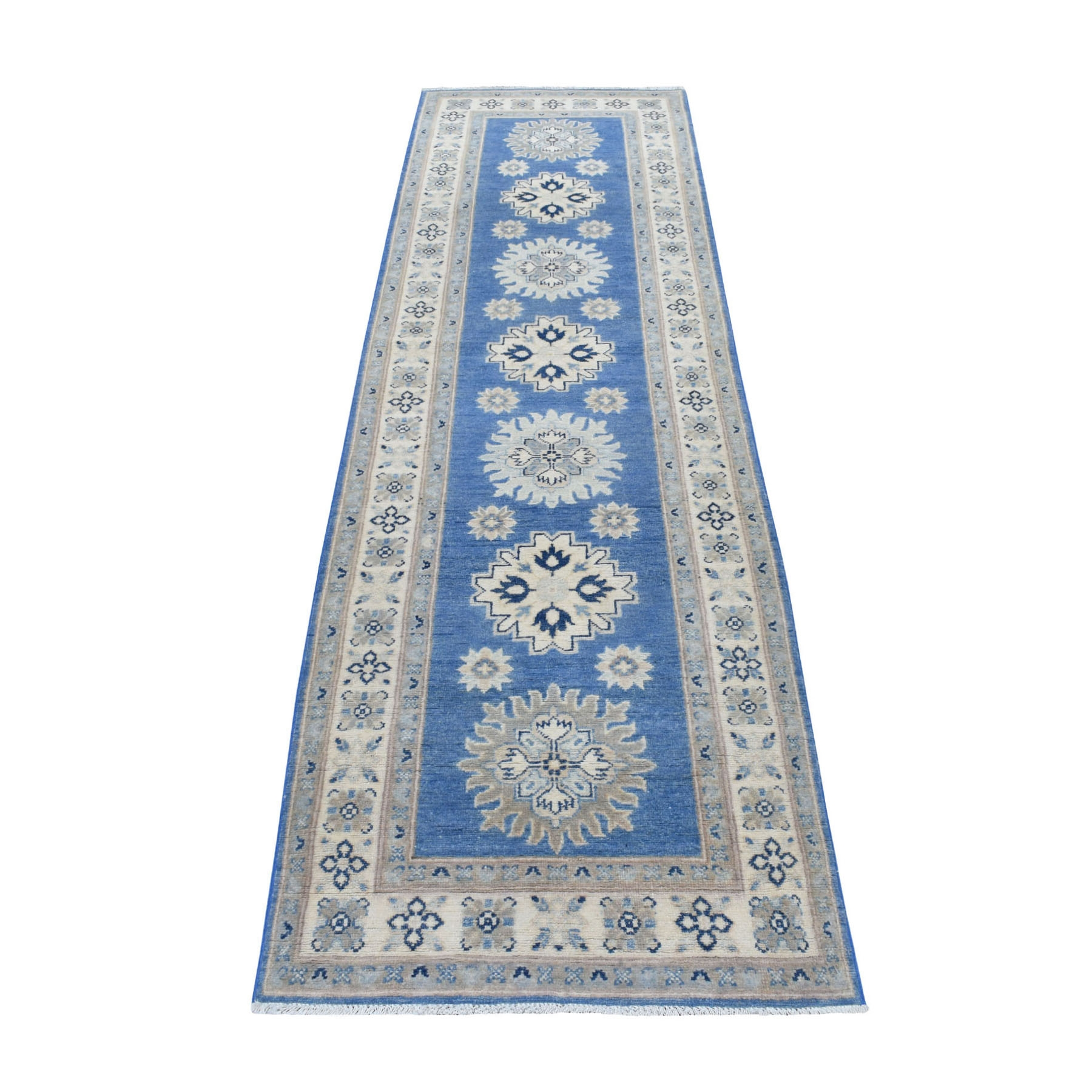 "2'6""x9'7"" Blue Vintage Look Kazak Organic Wool Tribal Design Hand Knotted Runner Oriental Rug"