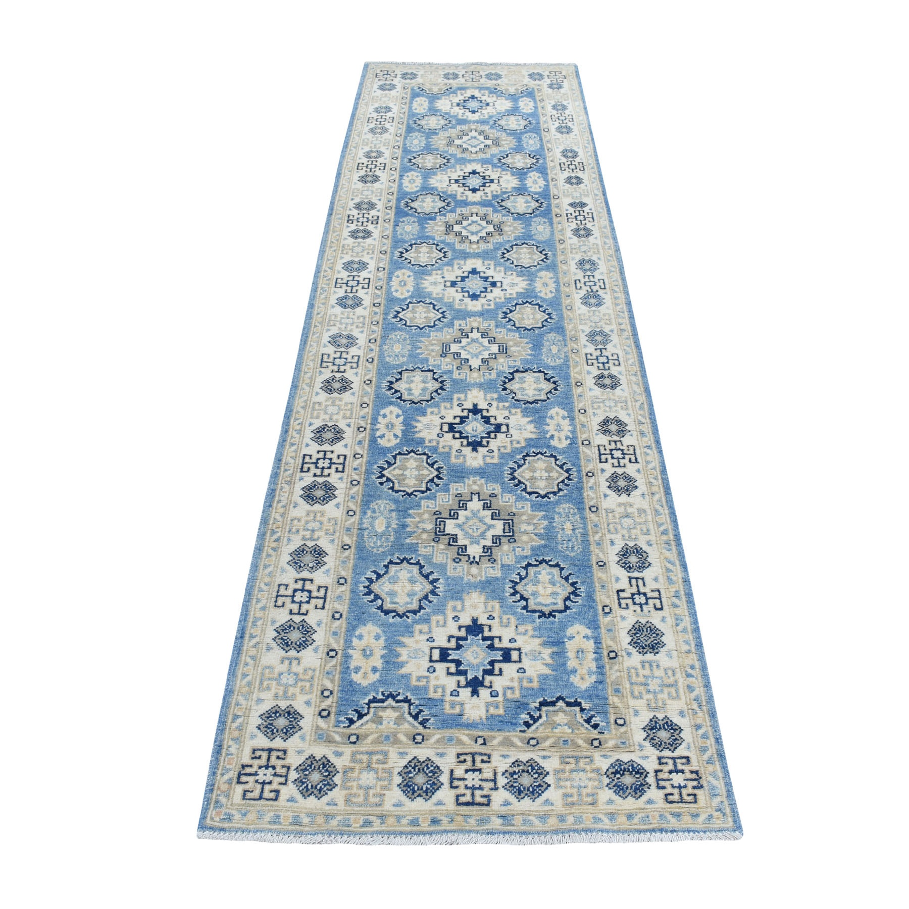"2'8""x9'6"" Blue All Over Design Hand Knotted Pure Wool Vintage Look Kazak Runner Oriental Rug"